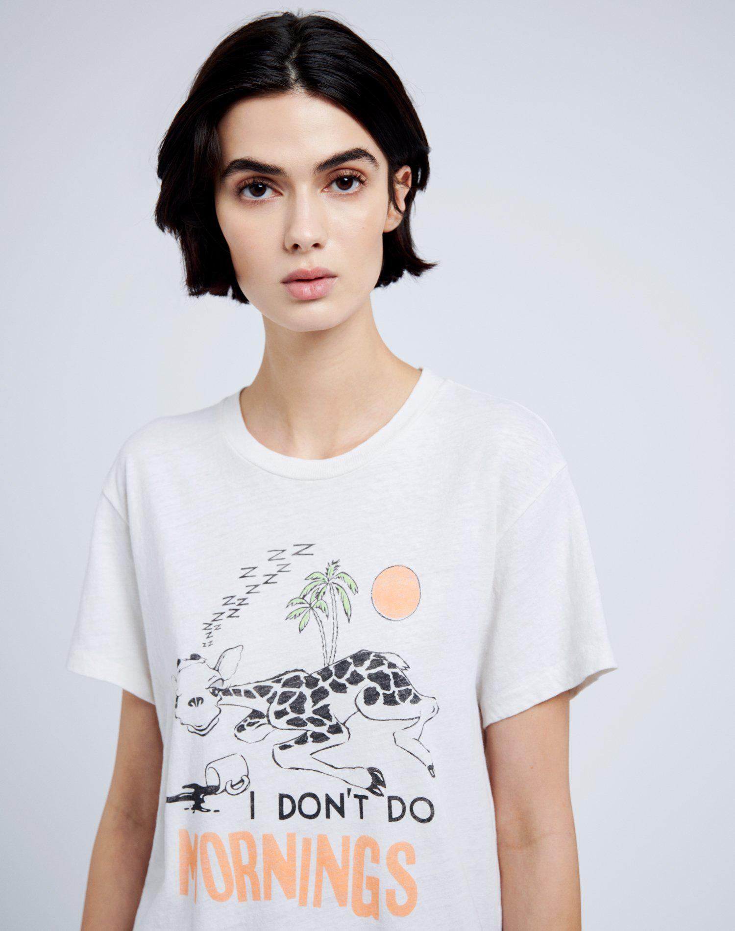 """70s Loose """"I Don't Do Mornings"""" Tee - Vintage White 2"""