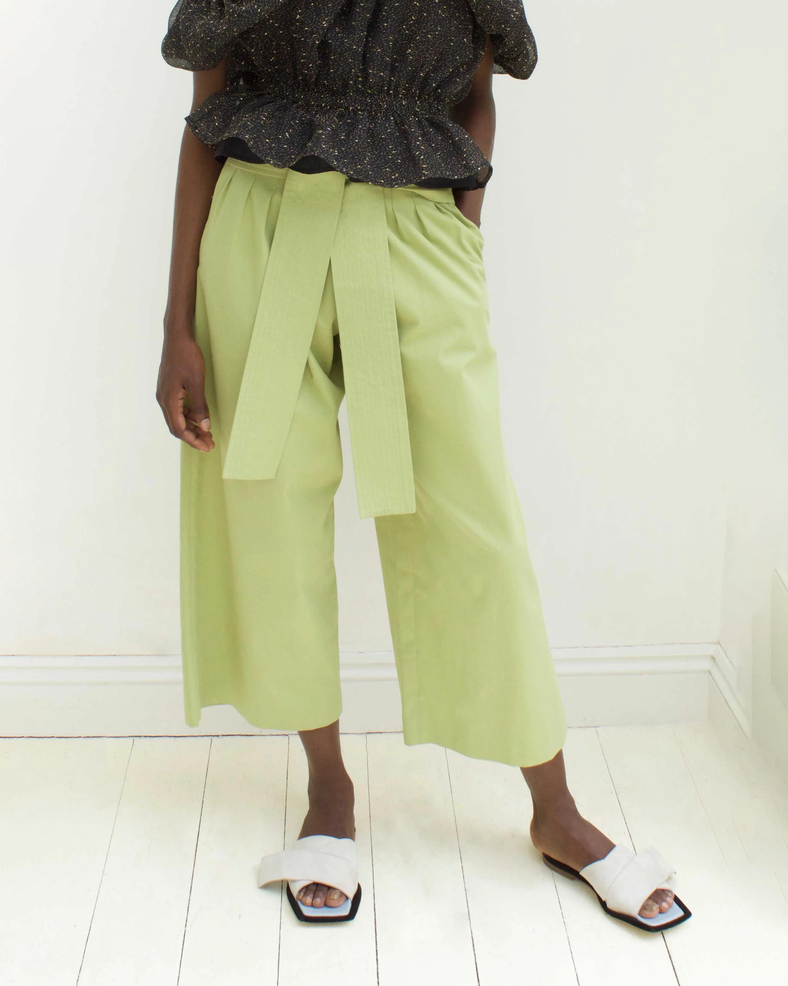 Ivy Trousers Cotton Sage Green - SPECIAL PRICE