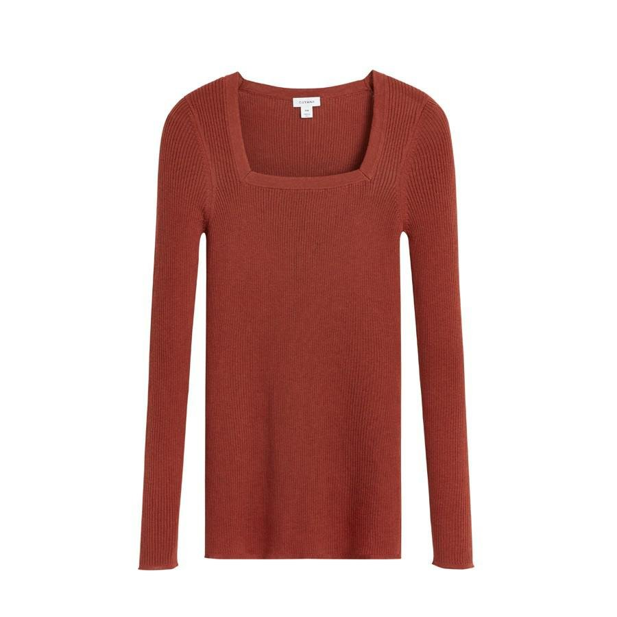 Women's Cotton Cashmere Square Neck Rib Sweater in Terracotta | Size: XL | Cotton Blend by Cuyana 0