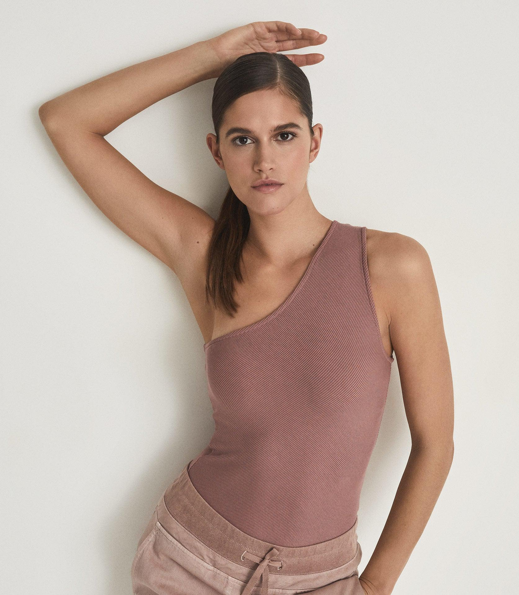POLINA - ONE SHOULDER RIBBED JERSEY TOP 2