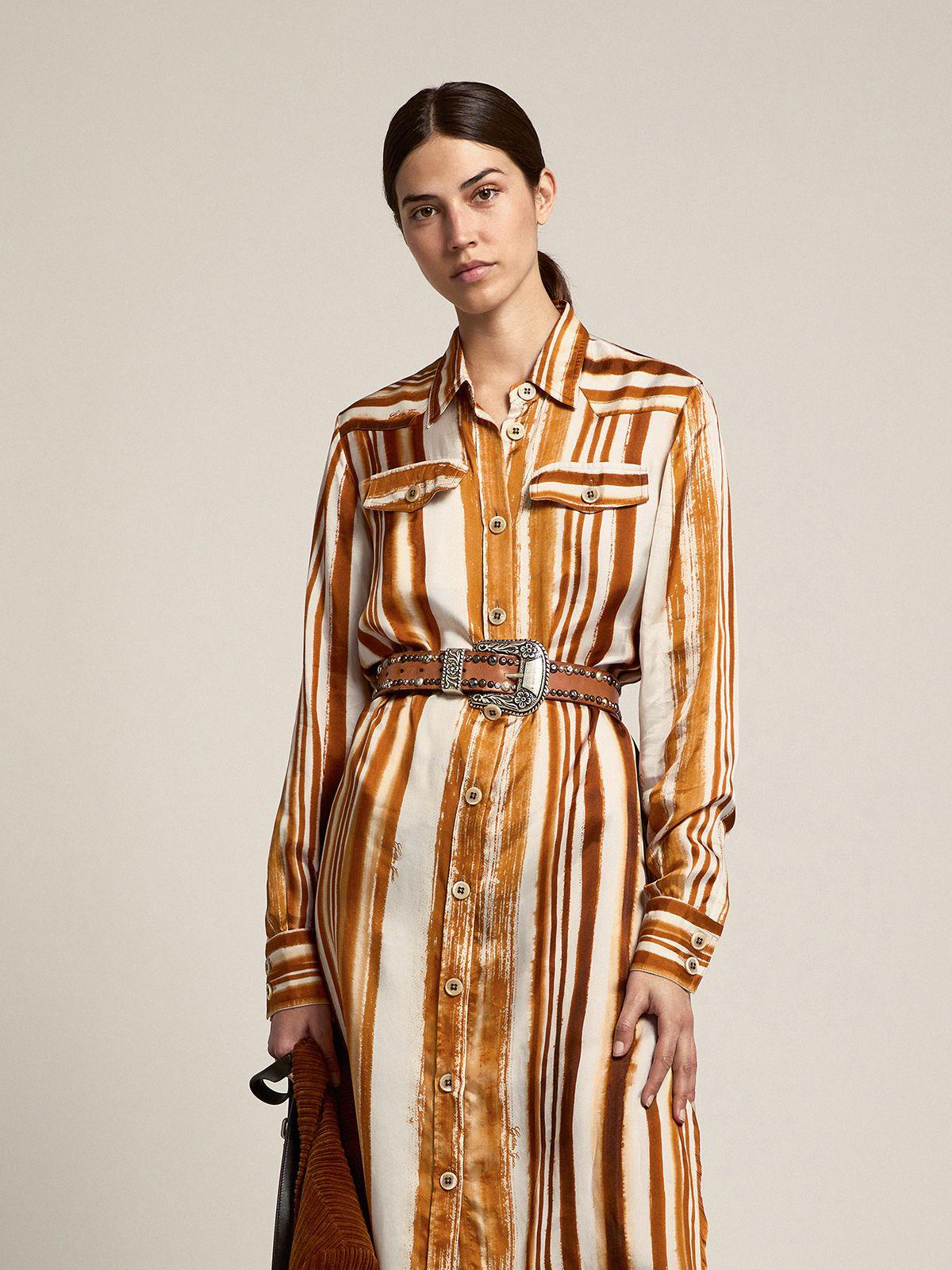Journey Collection Dana shirt dress with watercolor-effect vertical stripe print 2