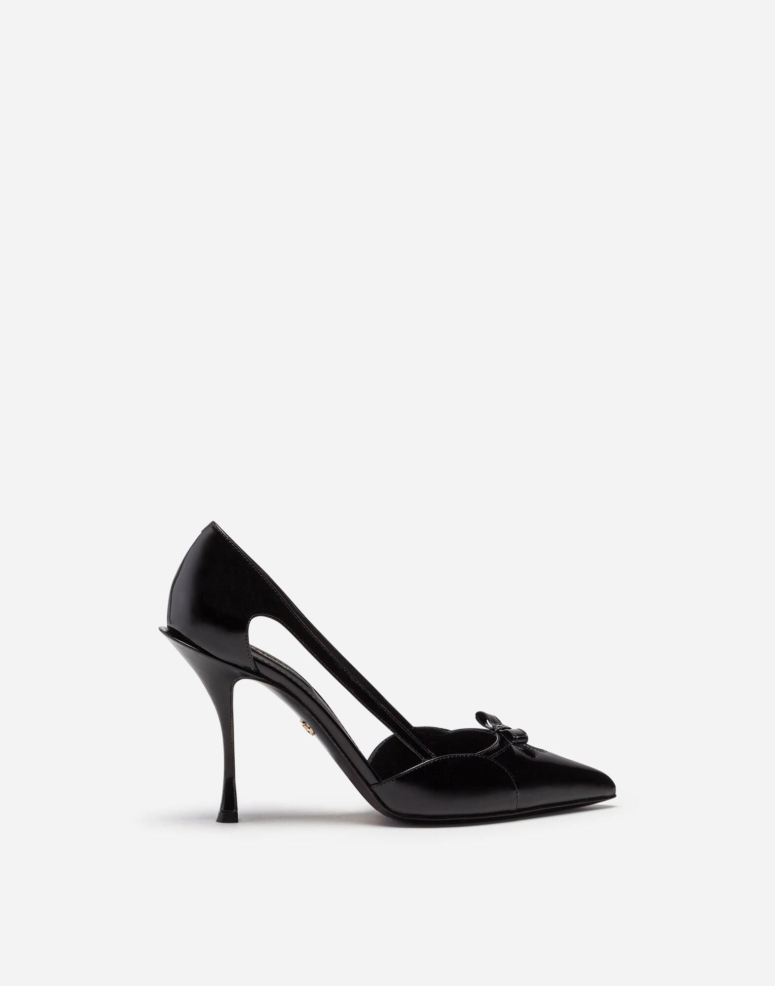 Polished calfskin pumps with bow 0