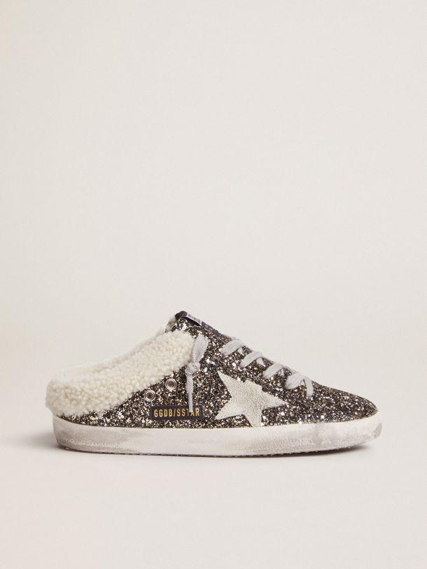 Super-Star sabot-style sneakers with glitter and shearling lining