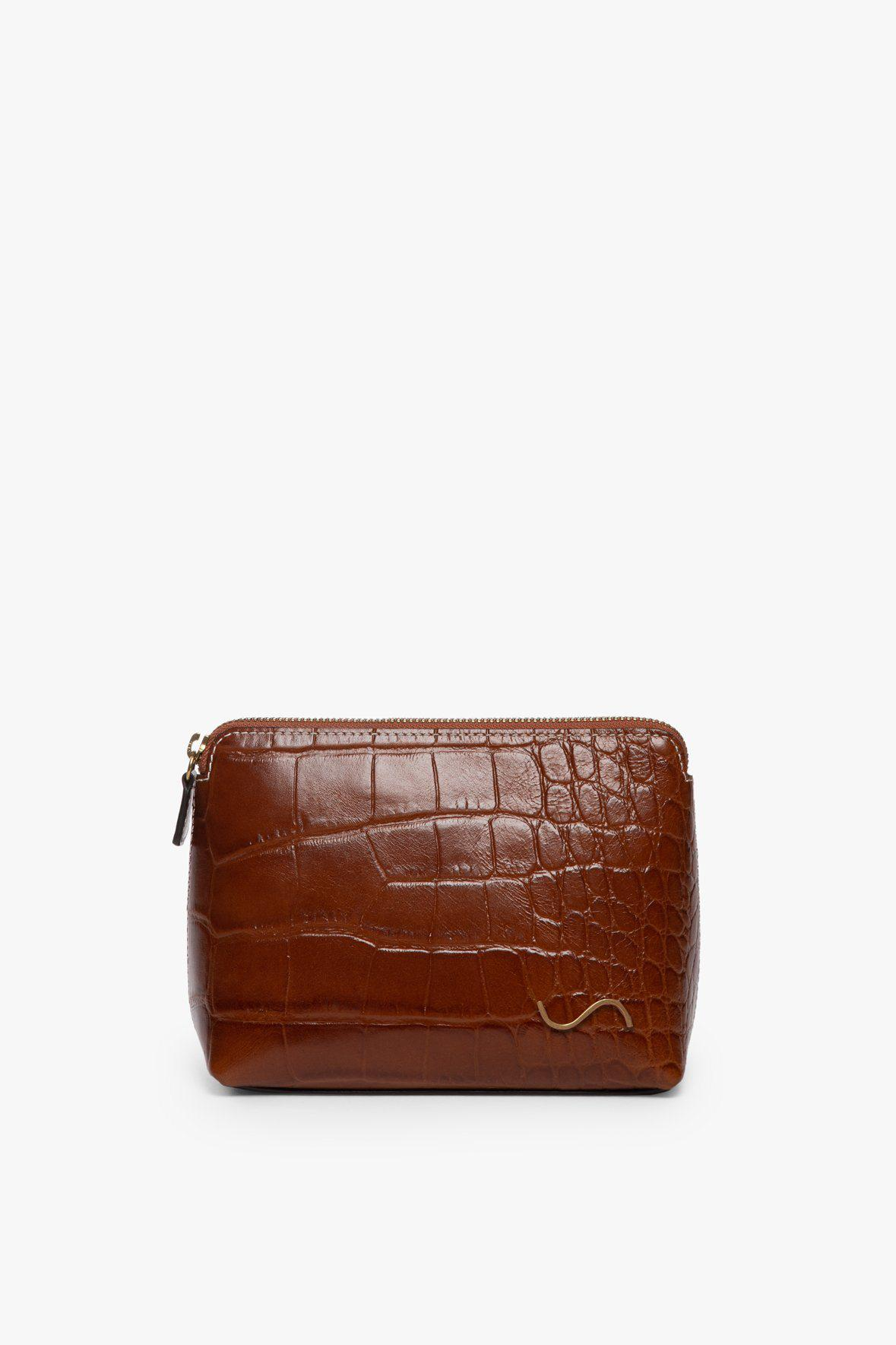 MAKEUP POUCH | SADDLE CROC EMBOSSED