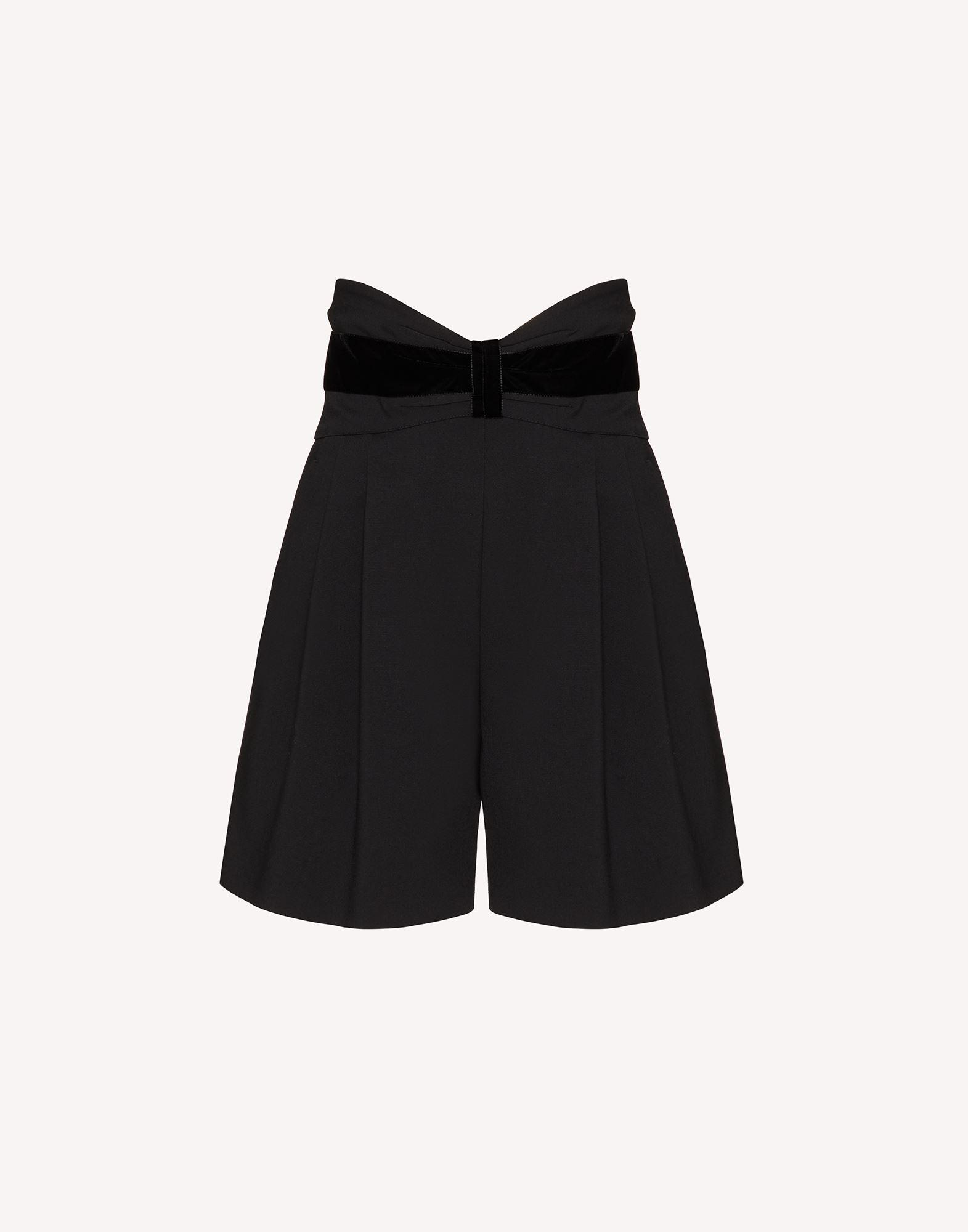TUXEDO BOW DETAIL WOOL STRETCH REPS SHORTS 4