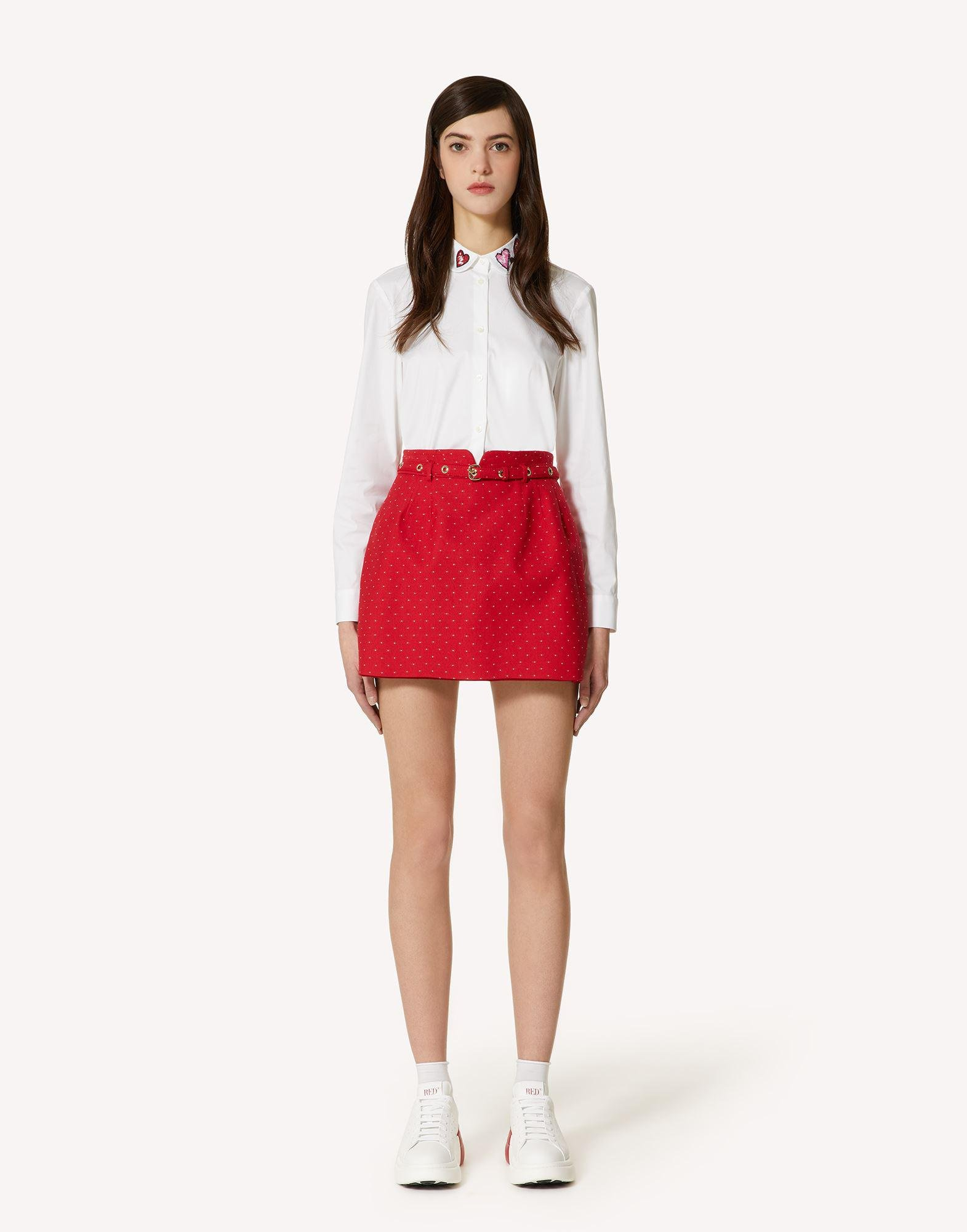WOOL POINTINEE BELTED SHORTS