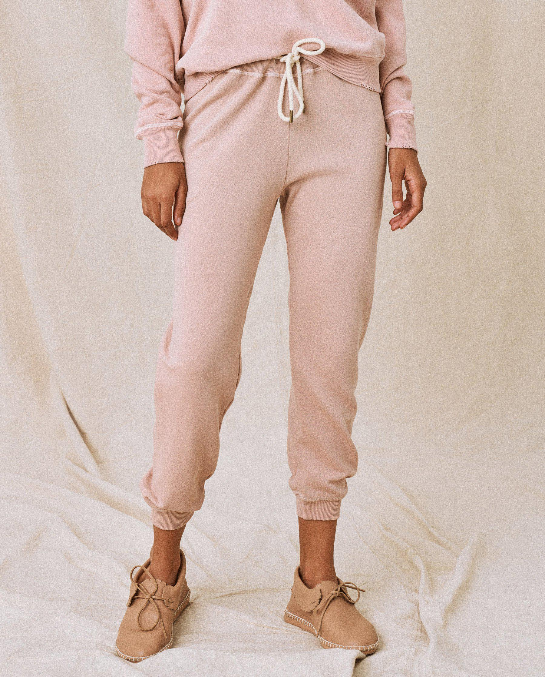 The Cropped Sweatpant. Solid -- Carnation