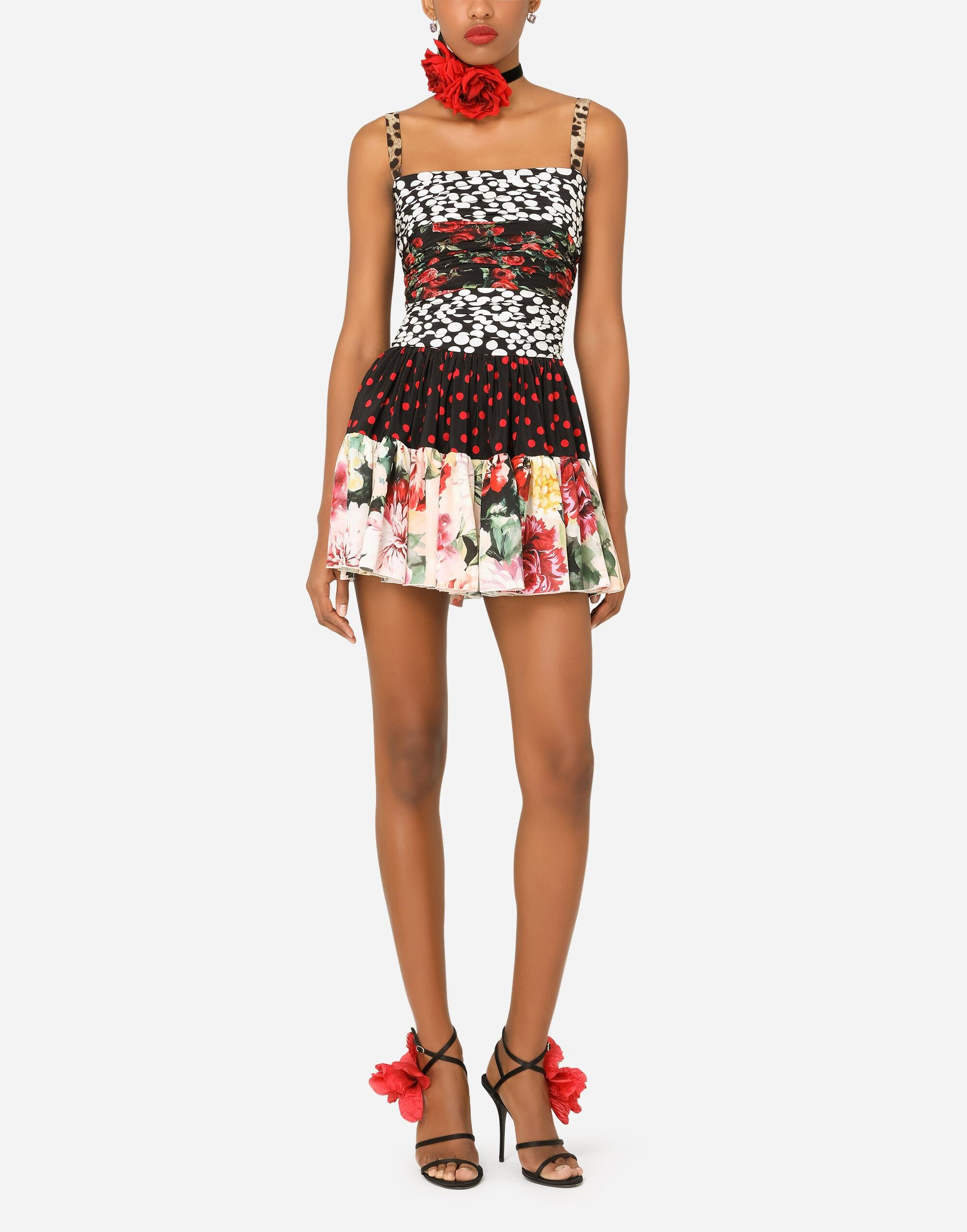Short patchwork crepe de chine and charmeuse dress 4