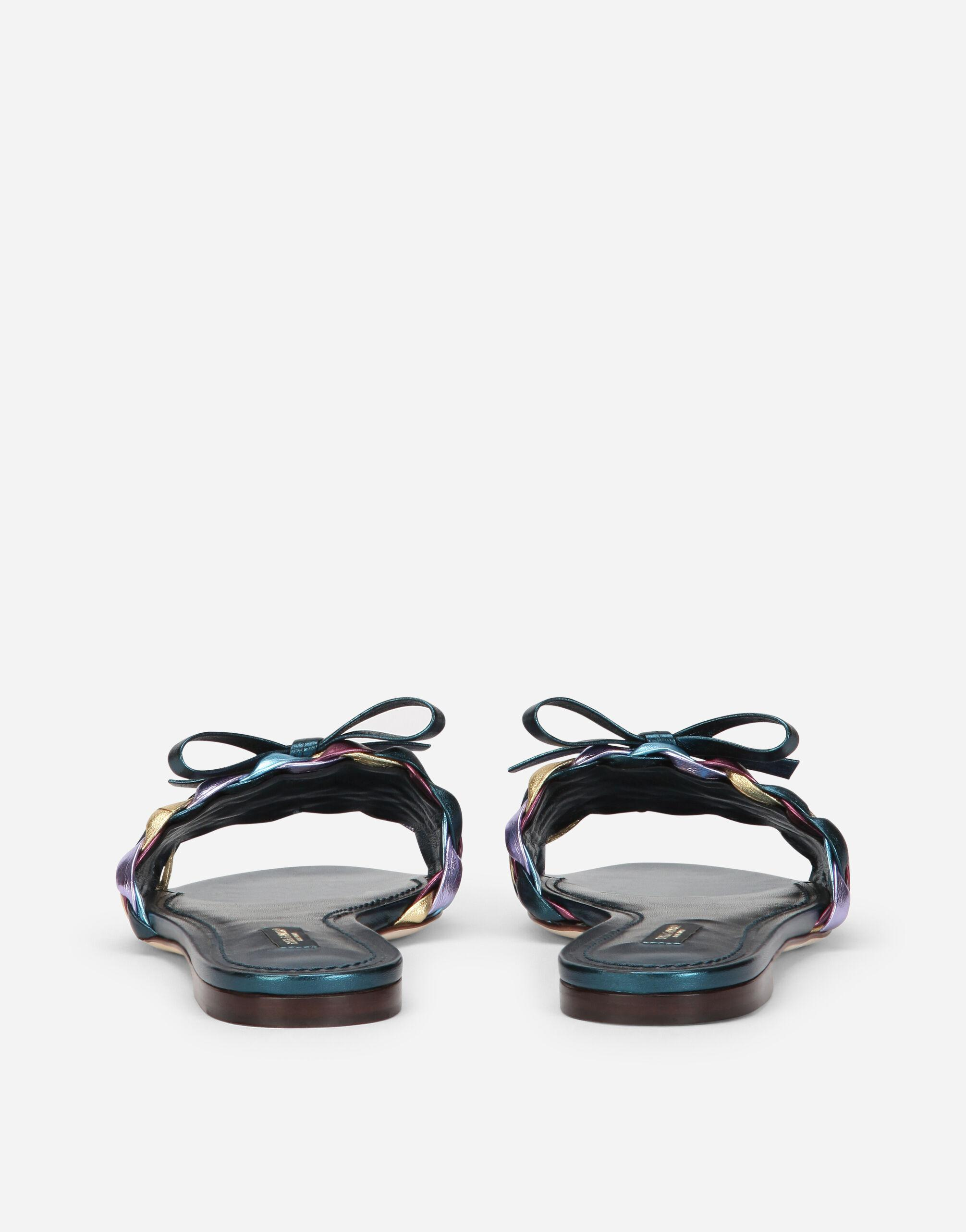 Woven laminated nappa leather sliders 2