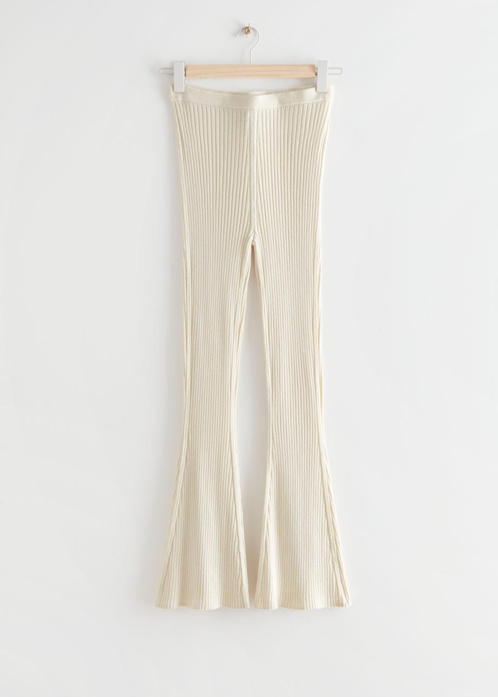 Fitted Mulberry Silk Blend Rib Trousers