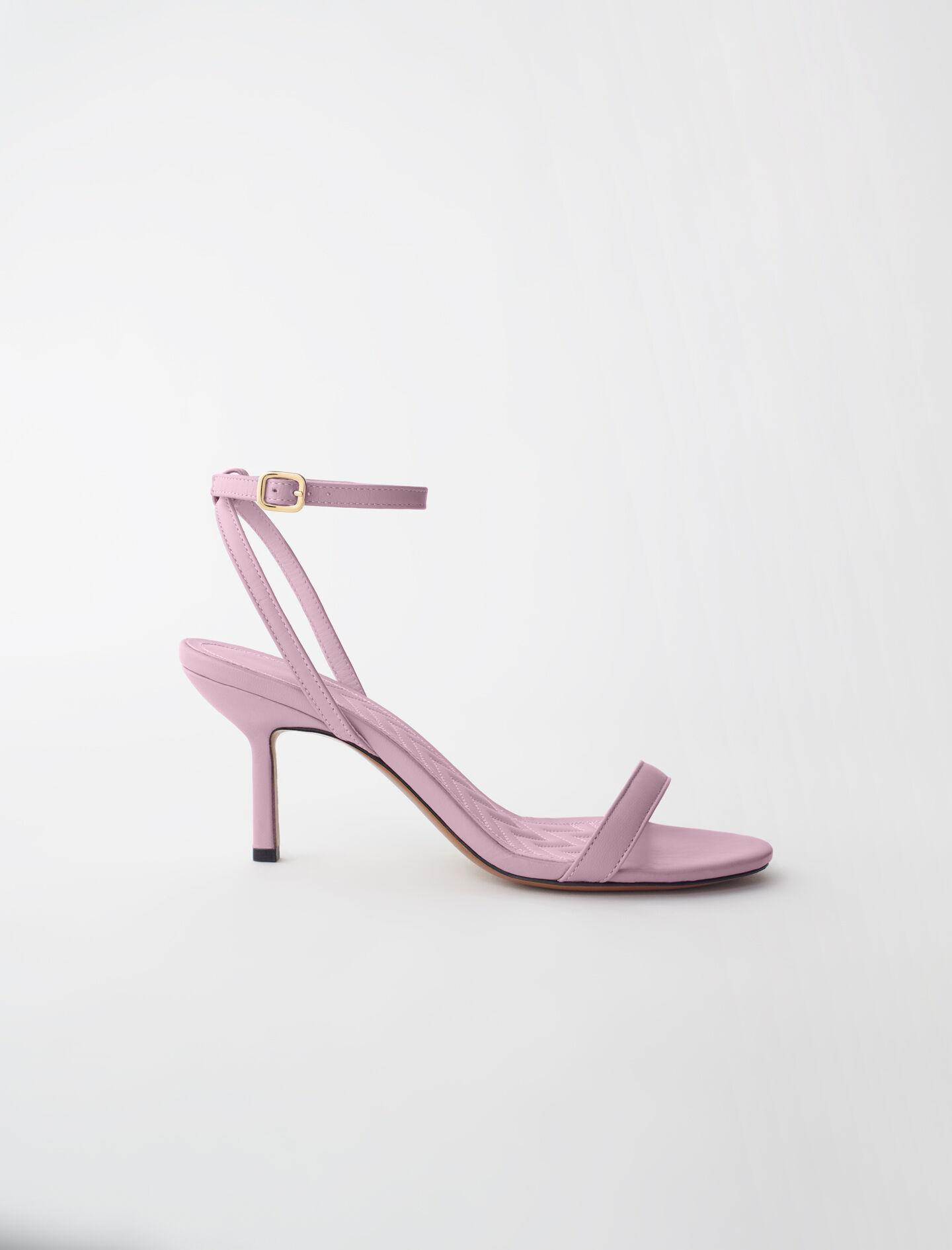 HIGH-HEELED SANDALS WITH LEATHER STRAPS