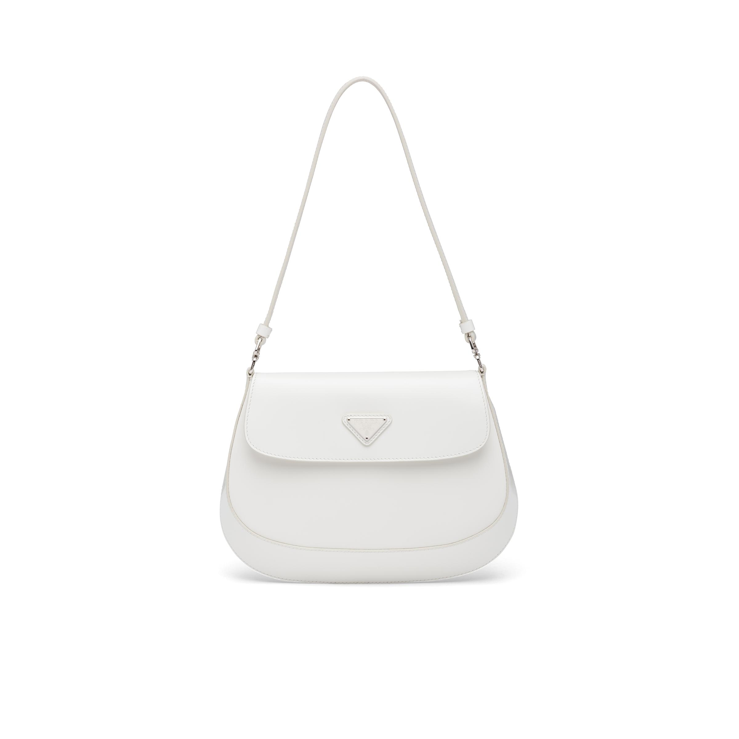 Cleo Brushed Leather Shoulder Bag With Flap Women White