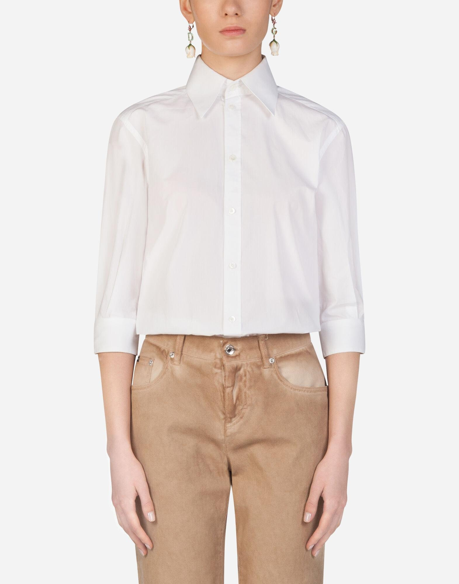 Poplin shirt with mother-of-pearl buttons