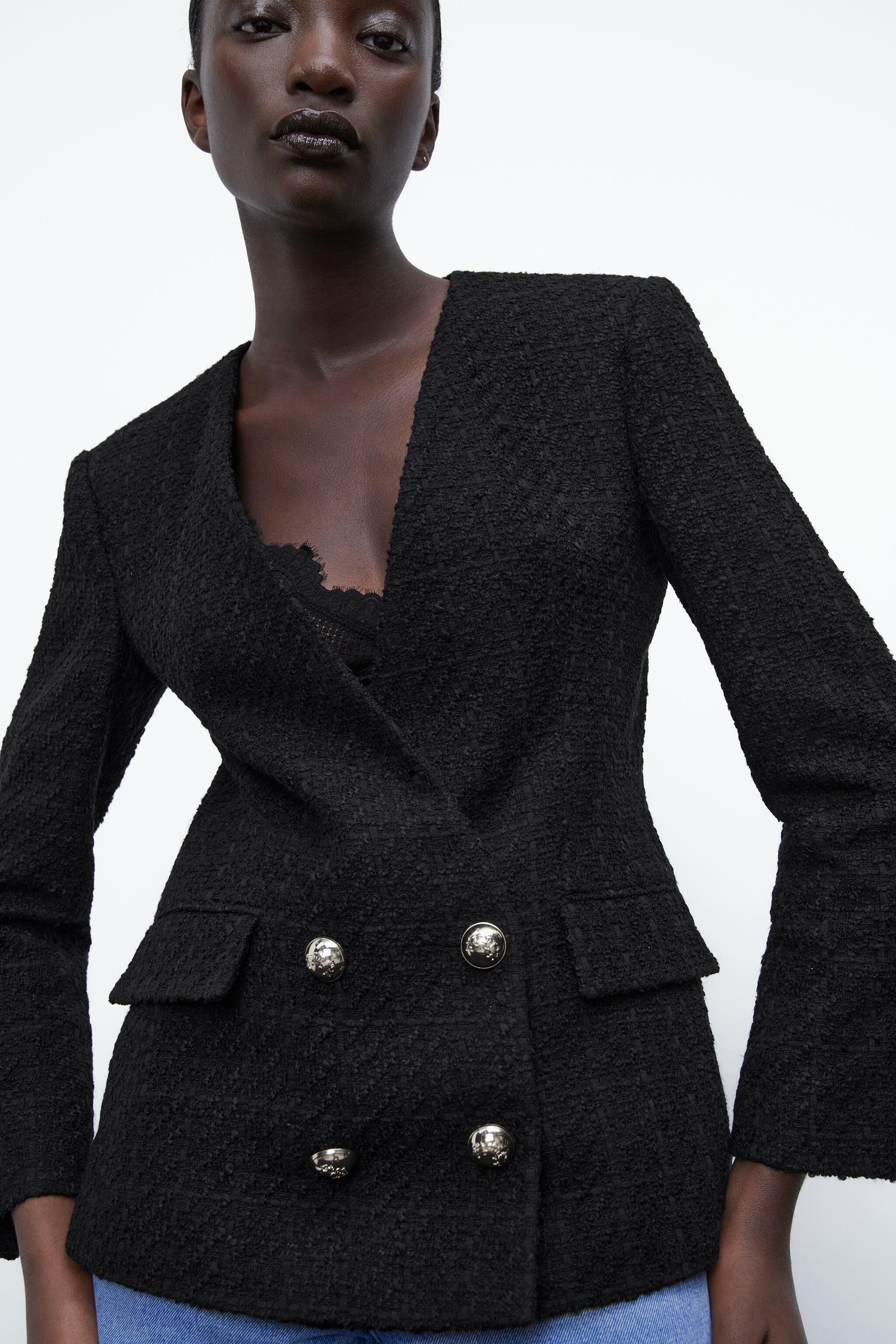DOUBLE BREASTED TEXTURED WEAVE JACKET 6