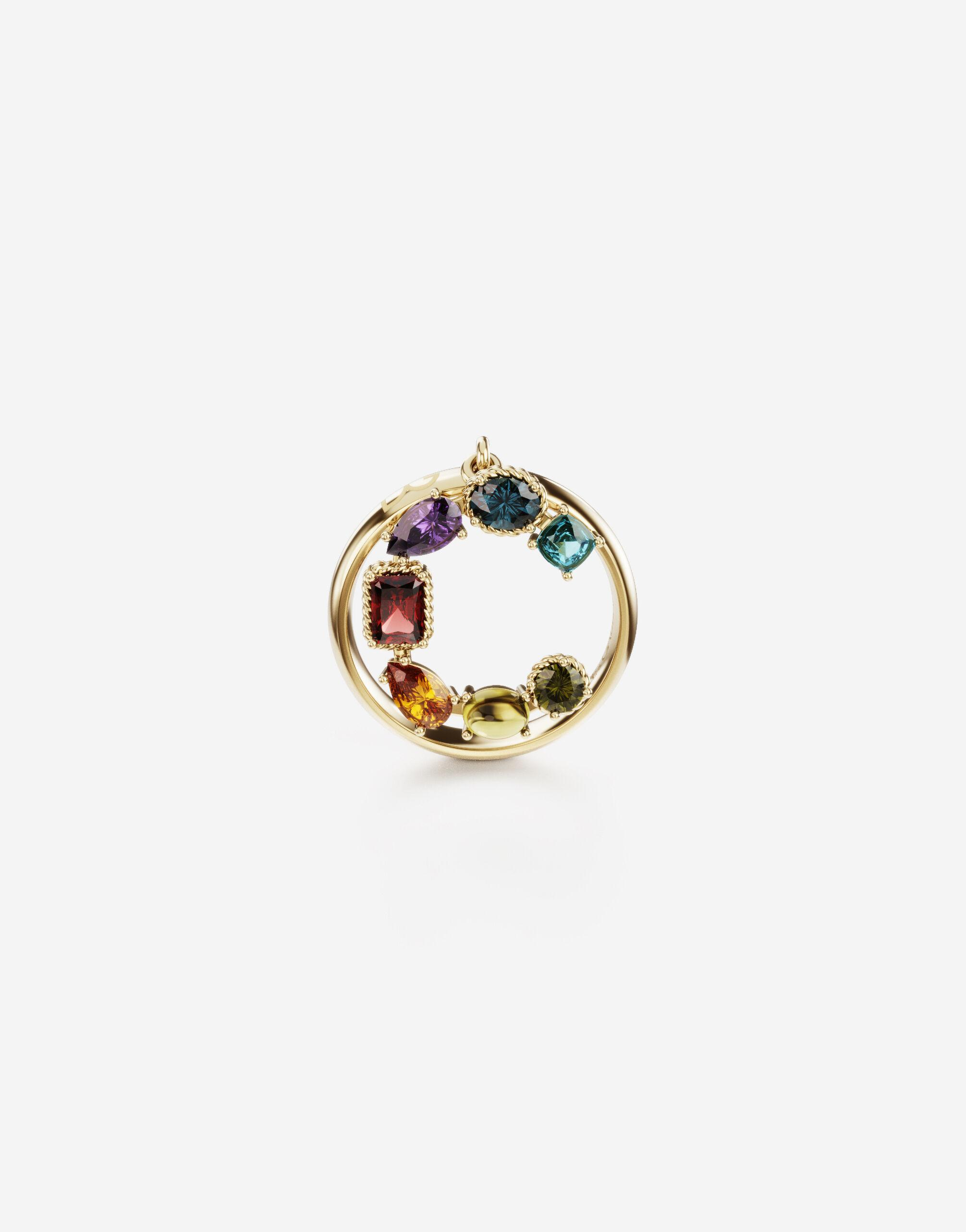 Rainbow alphabet C ring in yellow gold with multicolor fine gems