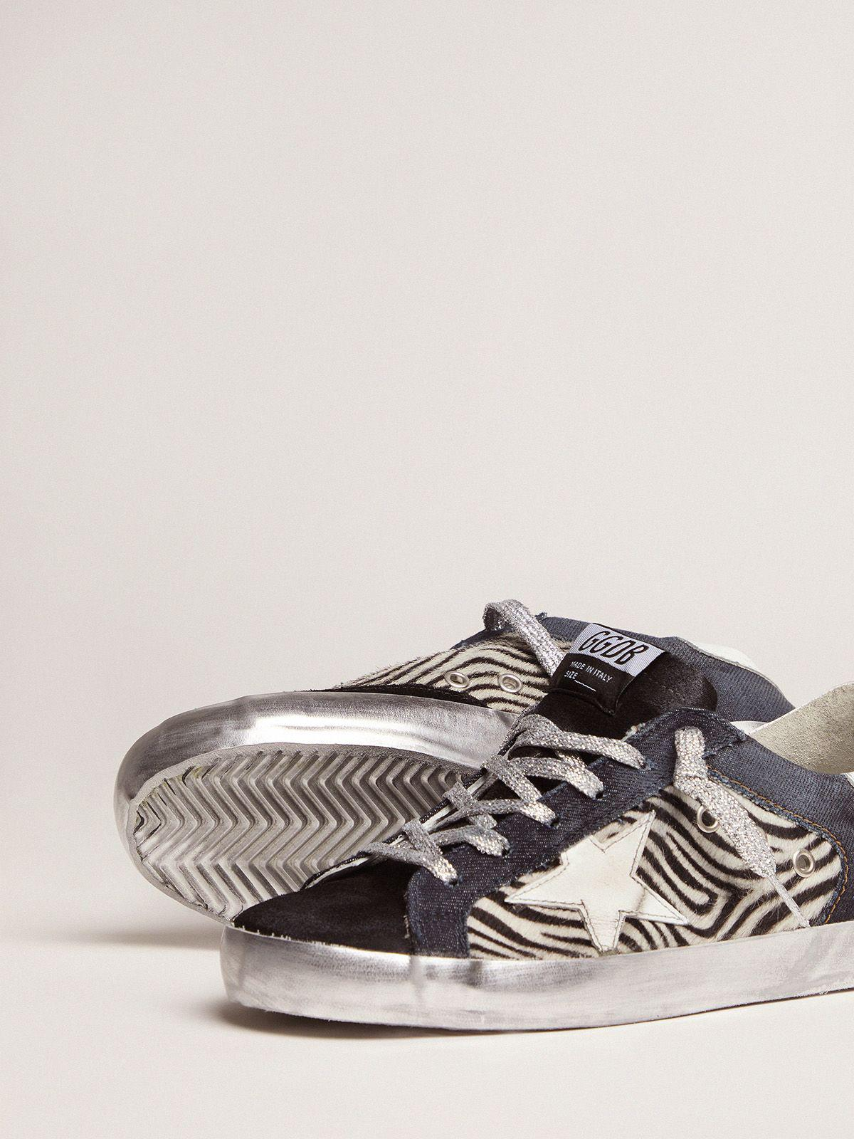 LAB Limited Edition Super-Star sneakers in denim, zebra-print pony skin and suede 2