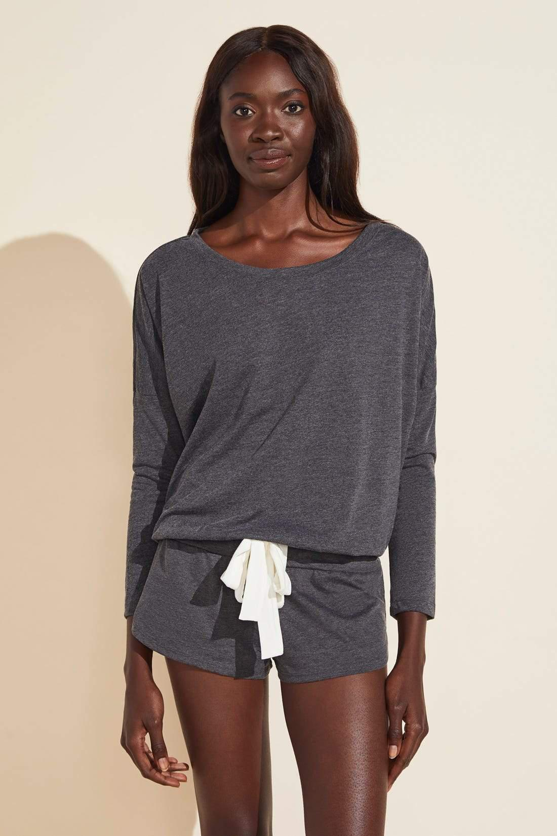 Heather Cotton Blend Top - Charcoal Heather