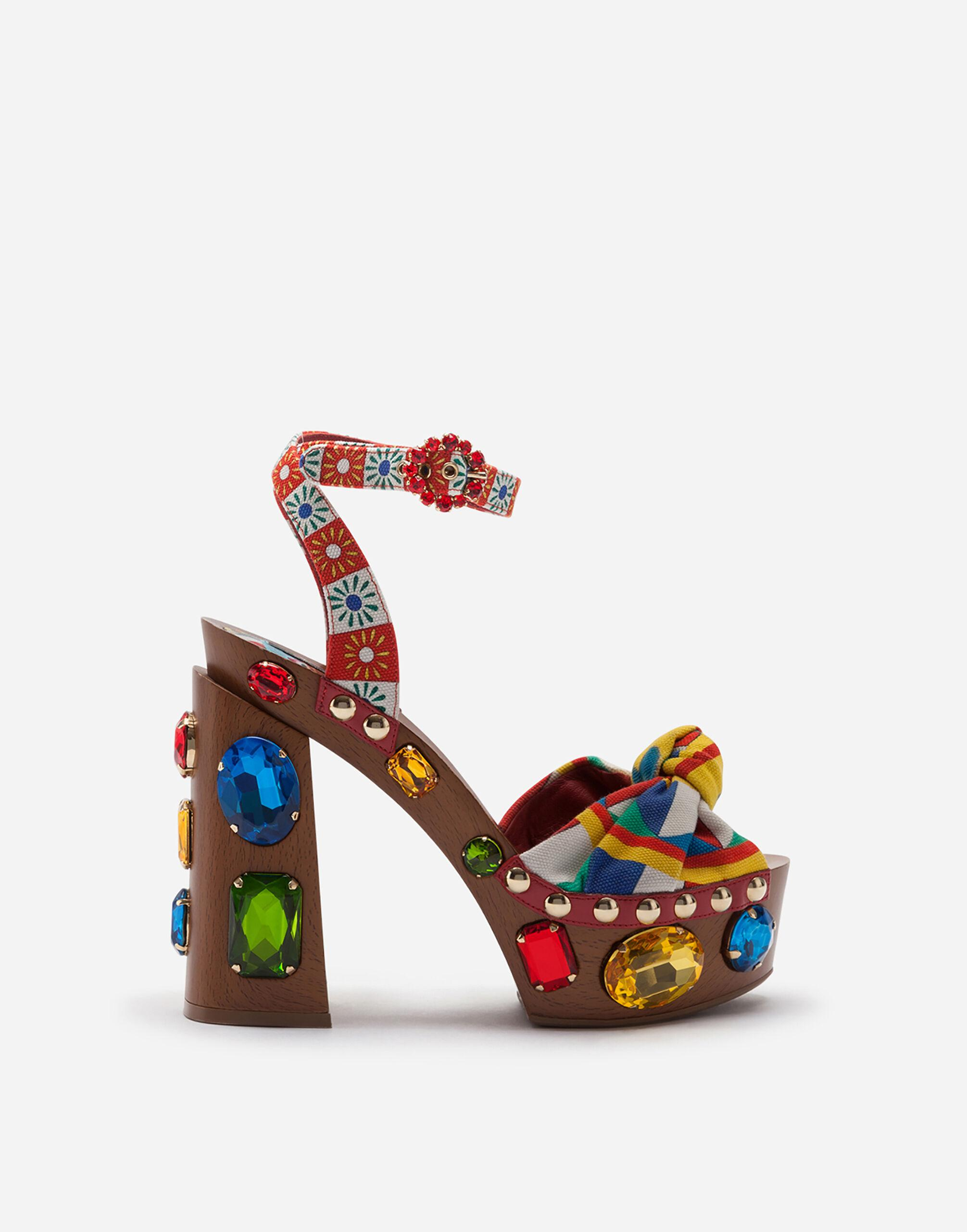 Carretto-print canvas clogs with bejeweled appliqués