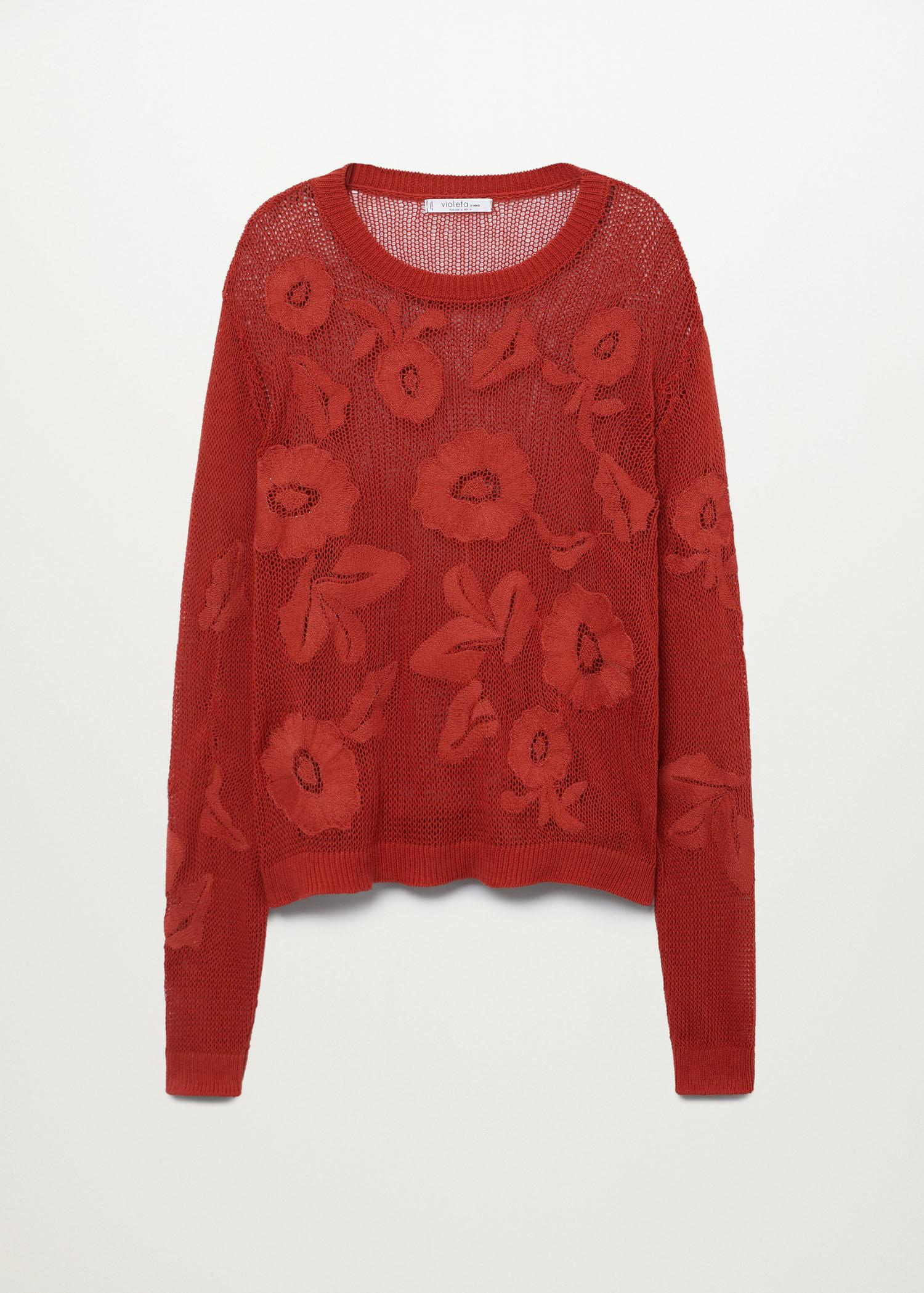 Flower embroidered sweater 7