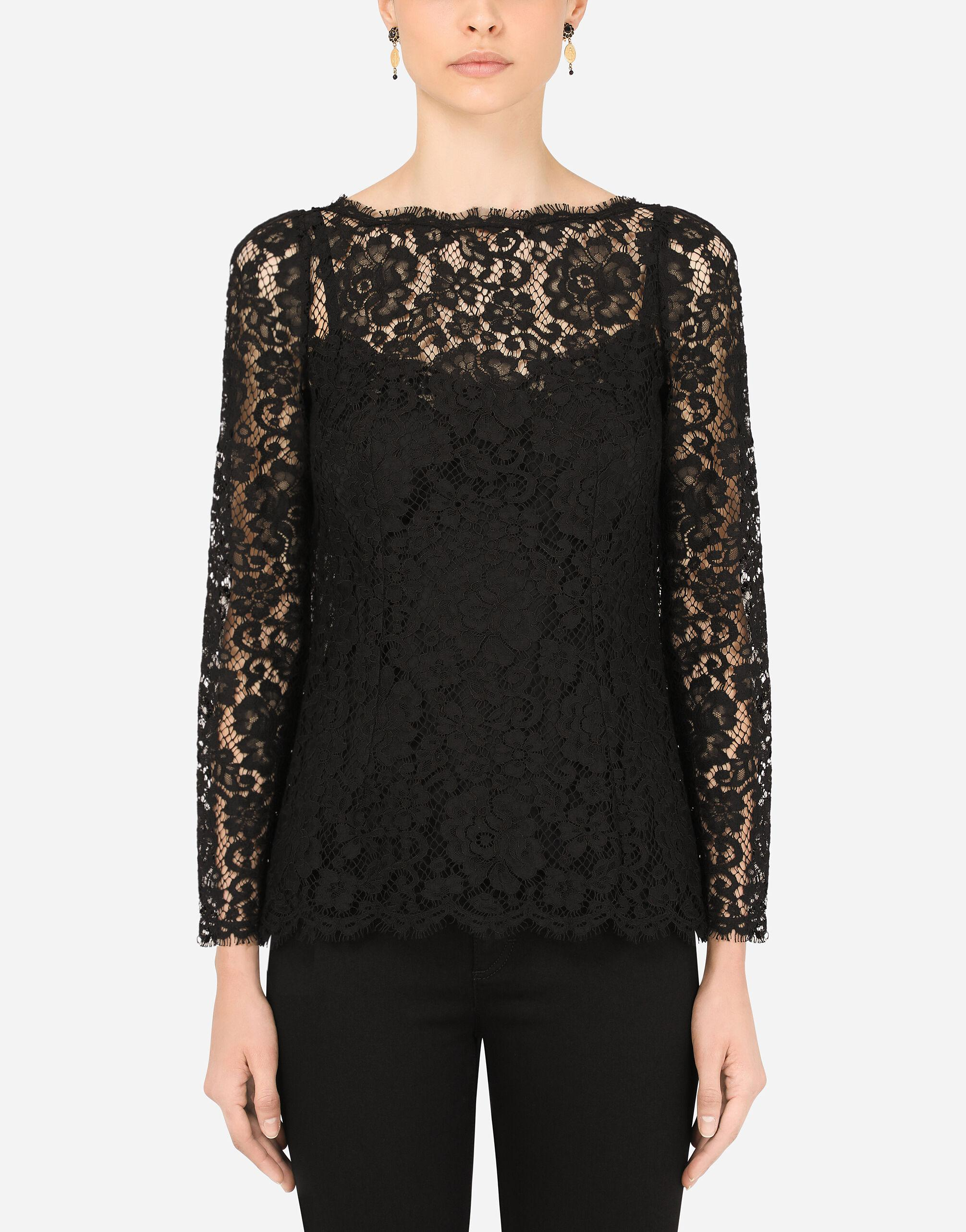 Long-sleeved cordonetto lace top