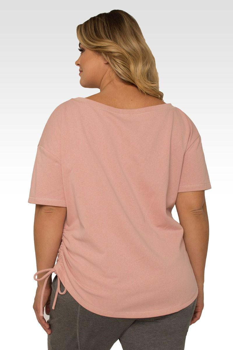 Nola Plus Size Boat Neck French Terry Pal Pink Ruched Tee