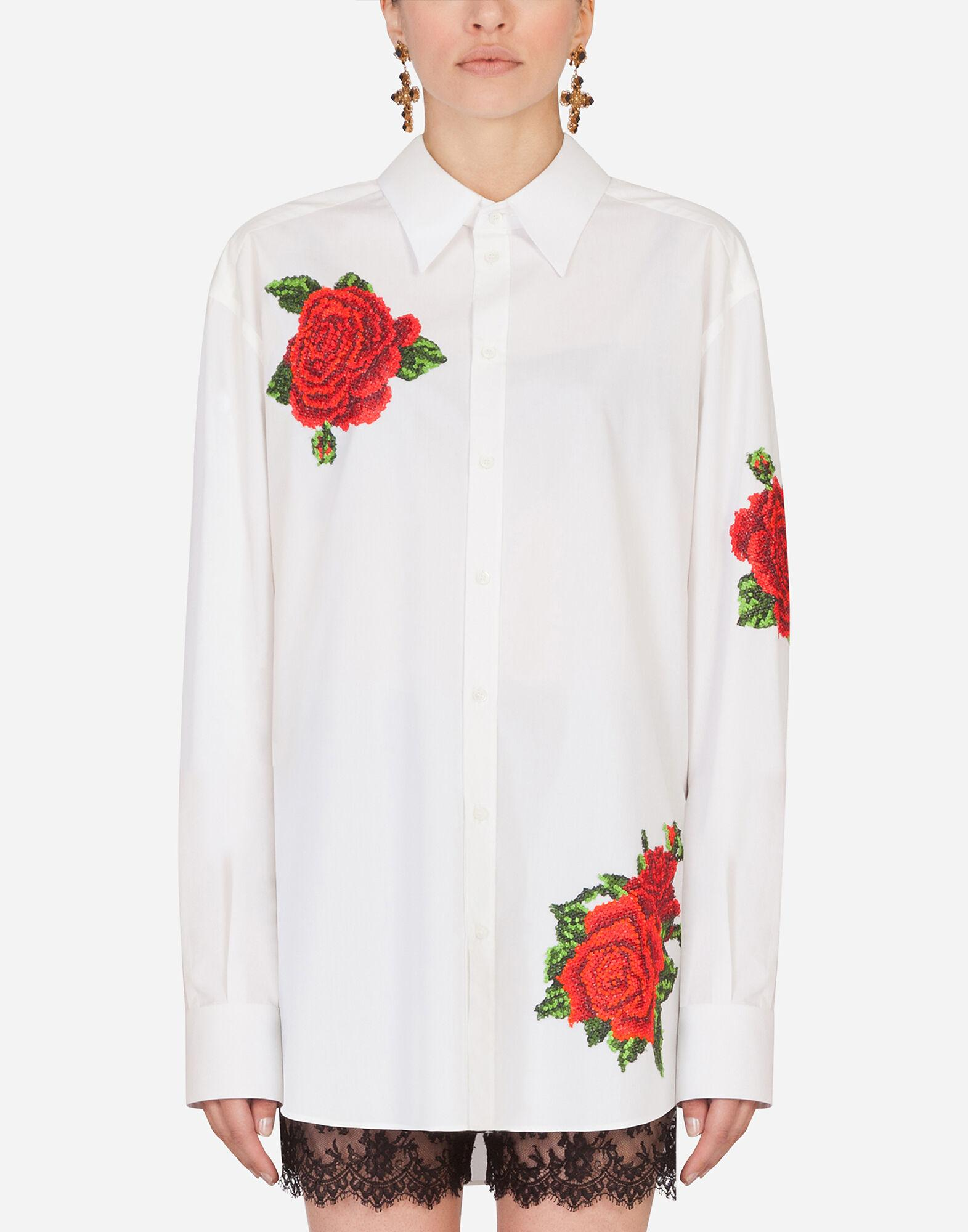 Shirt with hand-embroidered roses