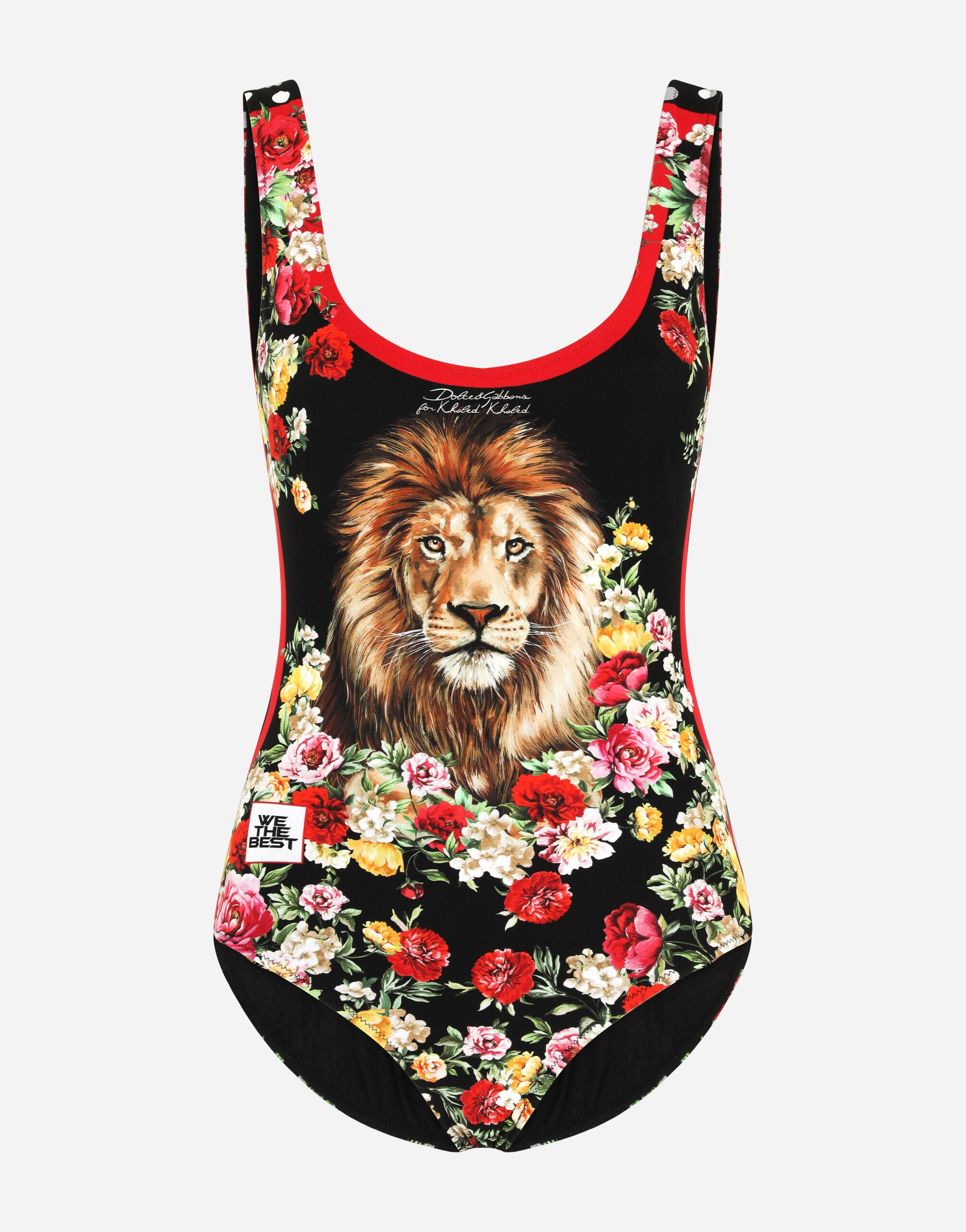 One-piece swimsuit with lion mix print 2