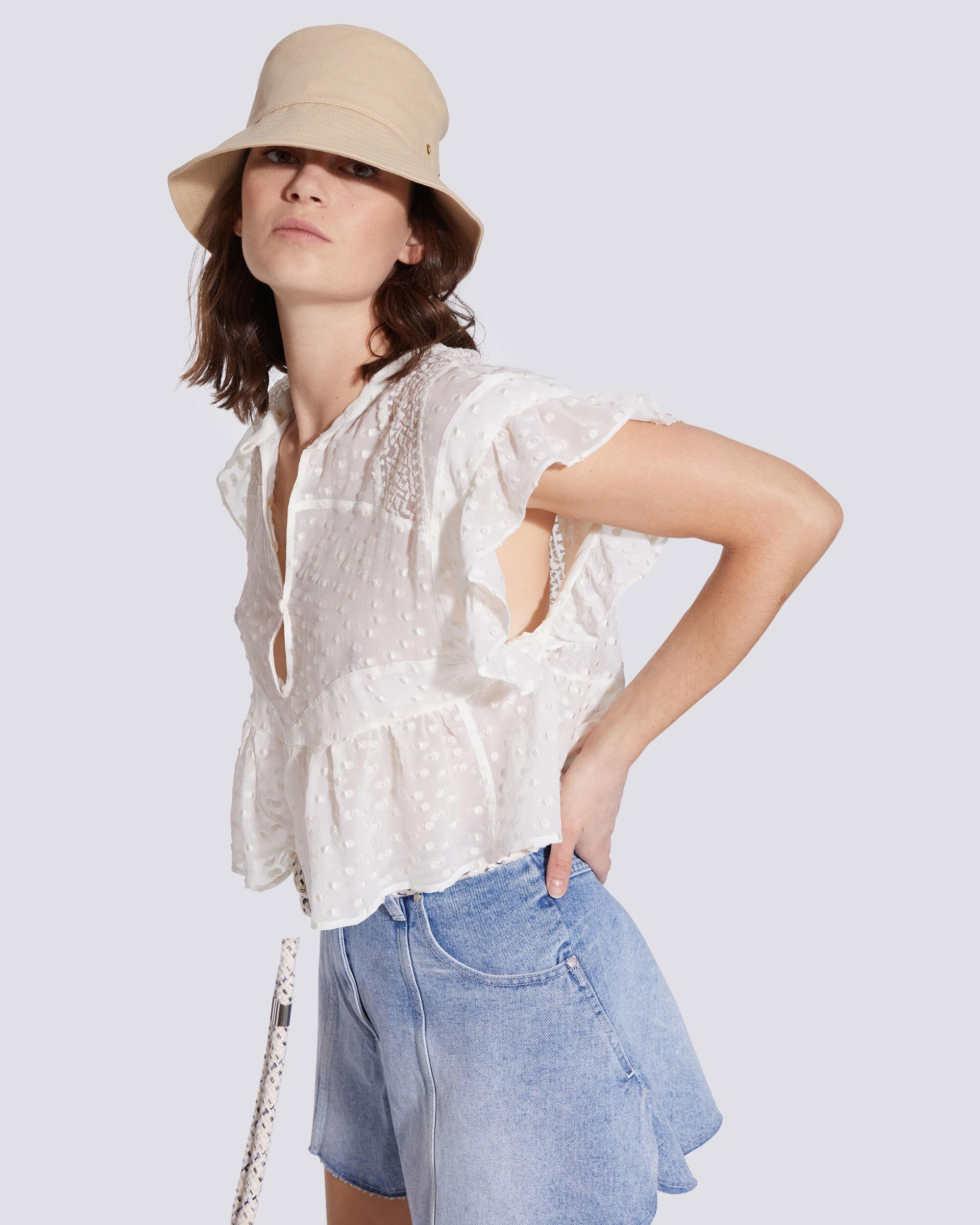 HOS BUTTON UP EMBROIDERED BLOUSE TOP