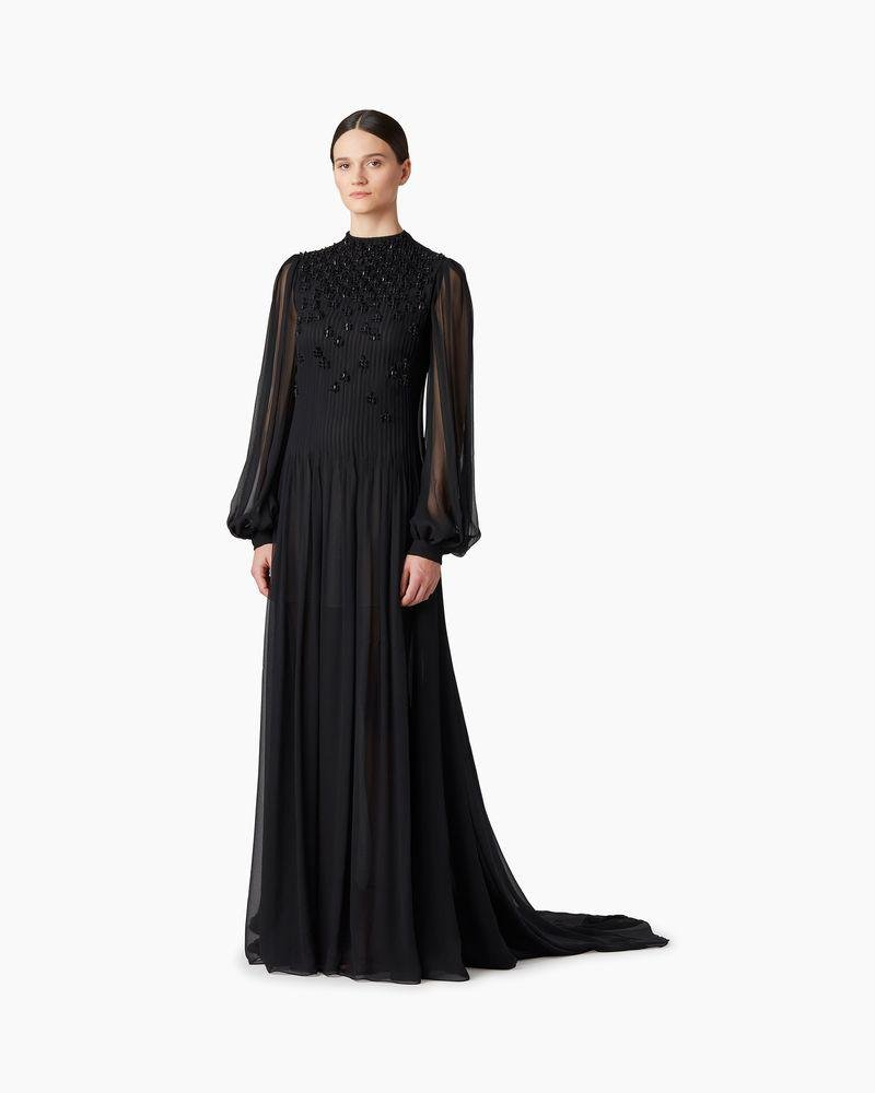 Embroidered Silk Chiffon Gown