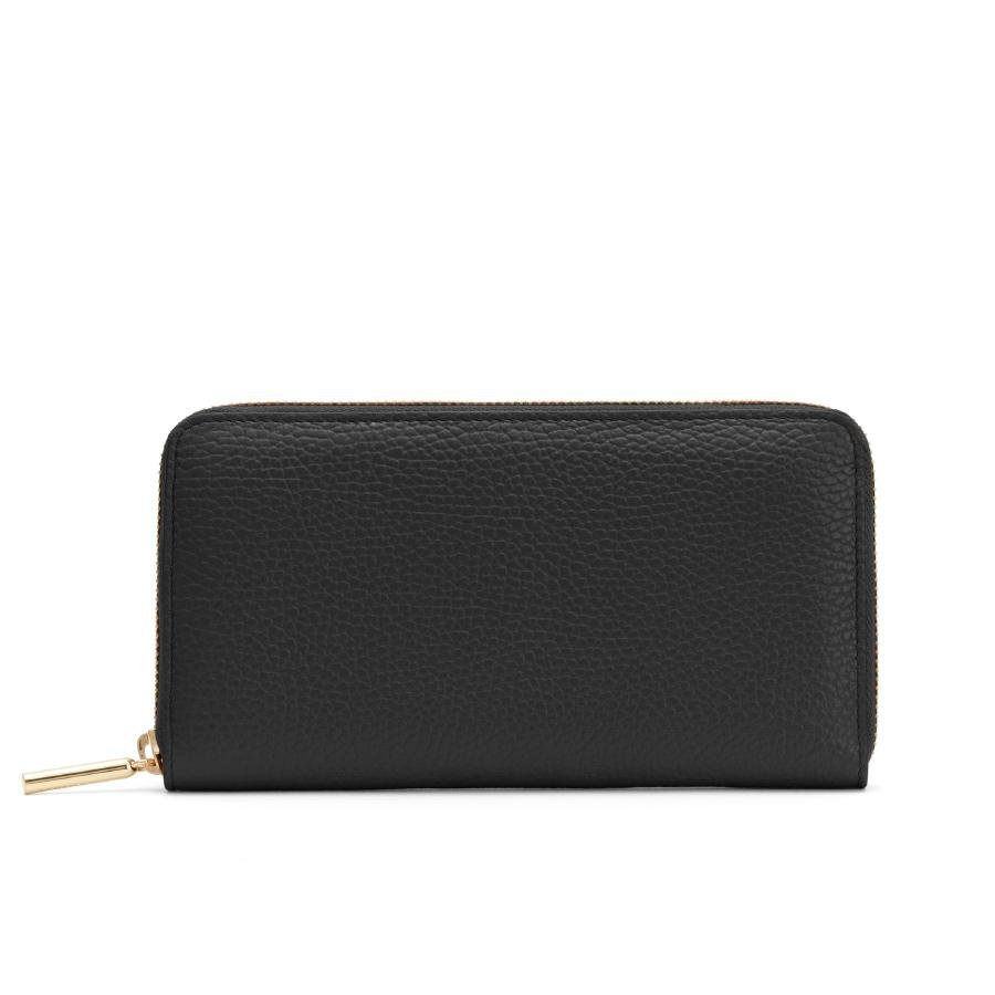 Women's Classic Zip Around Wallet in Black/Soft Rose | Pebbled Leather by Cuyana