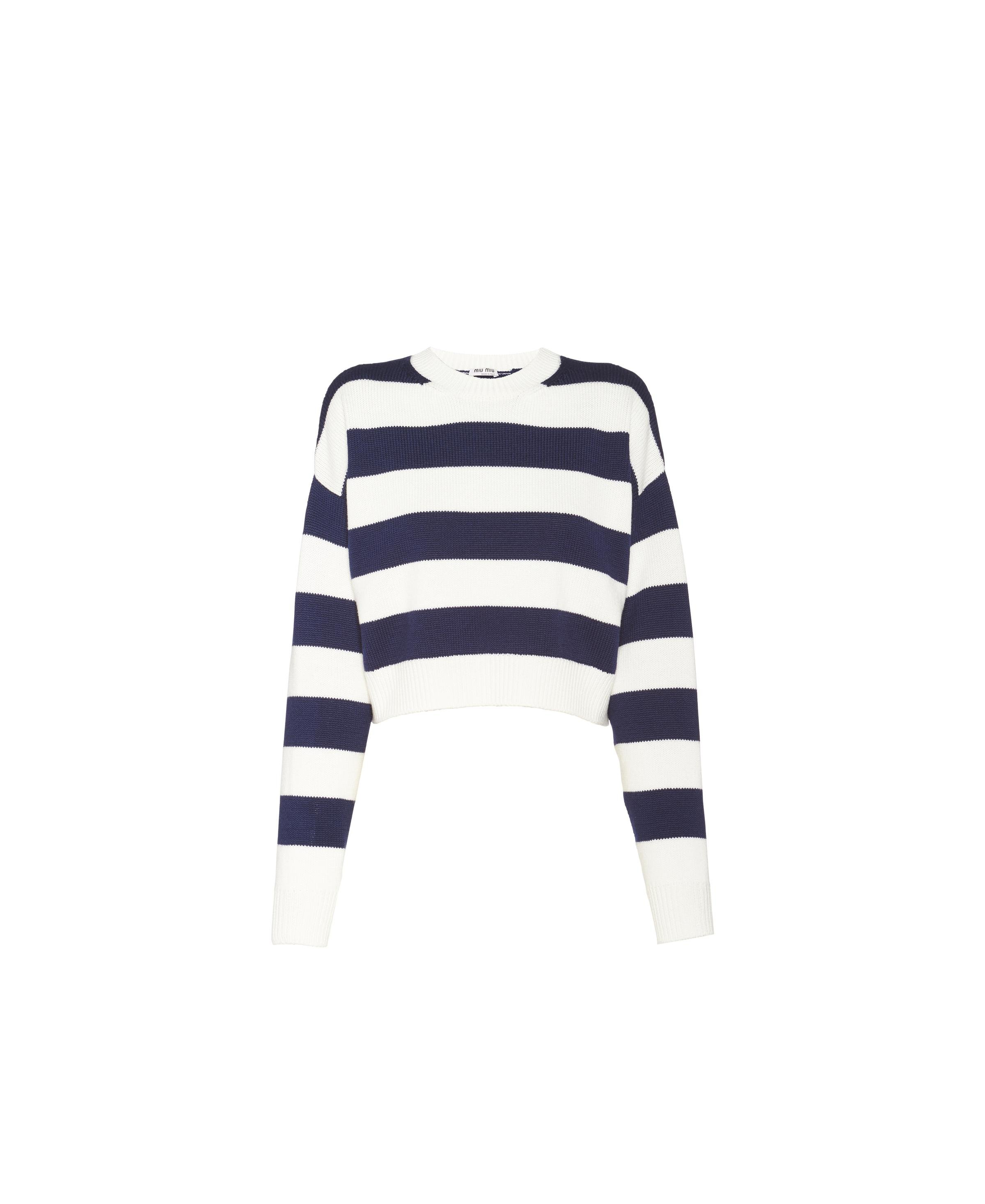 Embroidered Wool Sweater Women Ivory/navy Blue