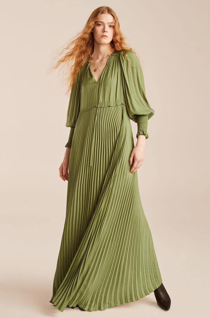 TIE FRONT PLEATED DRESS