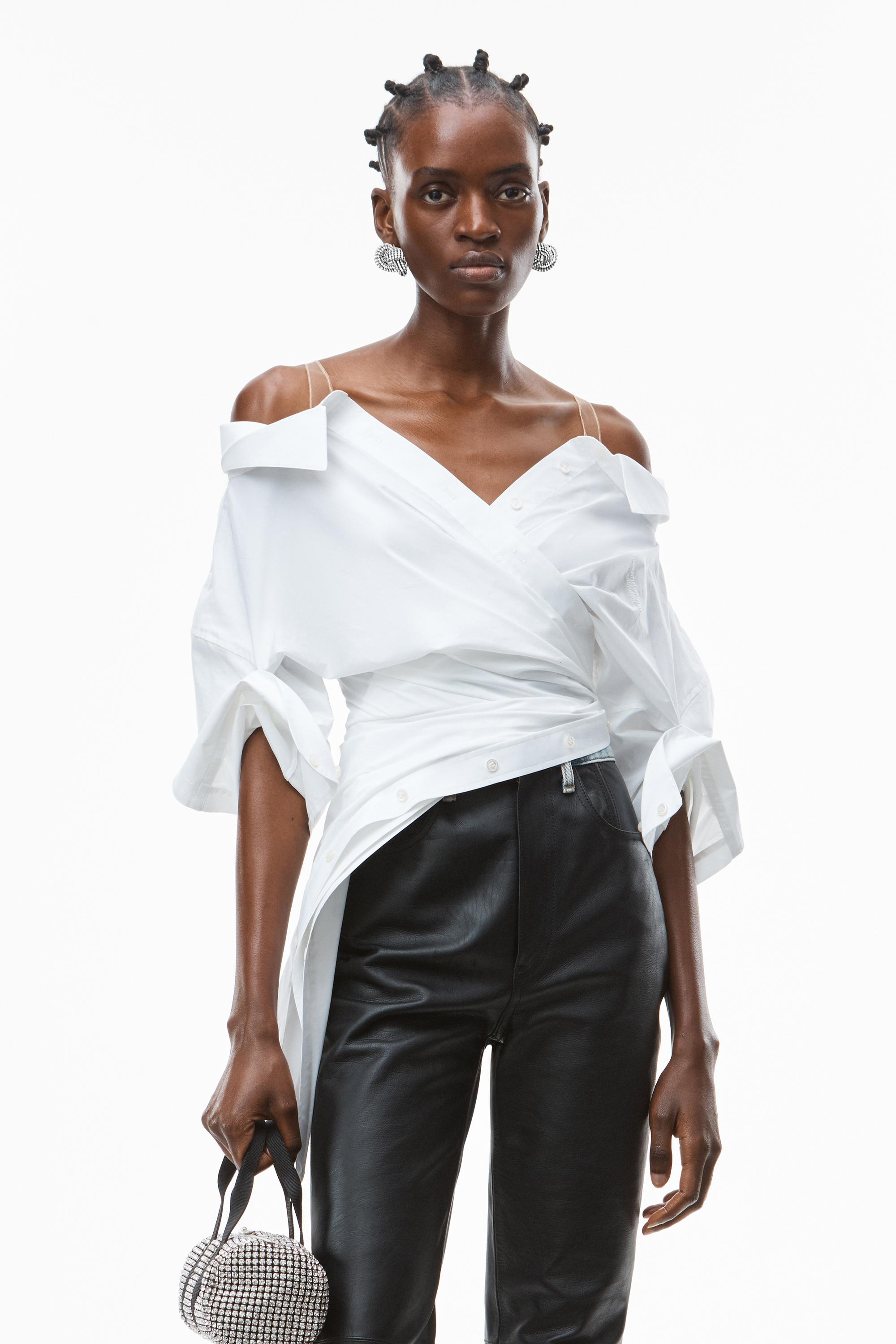 deconstructed top in crushed cotton