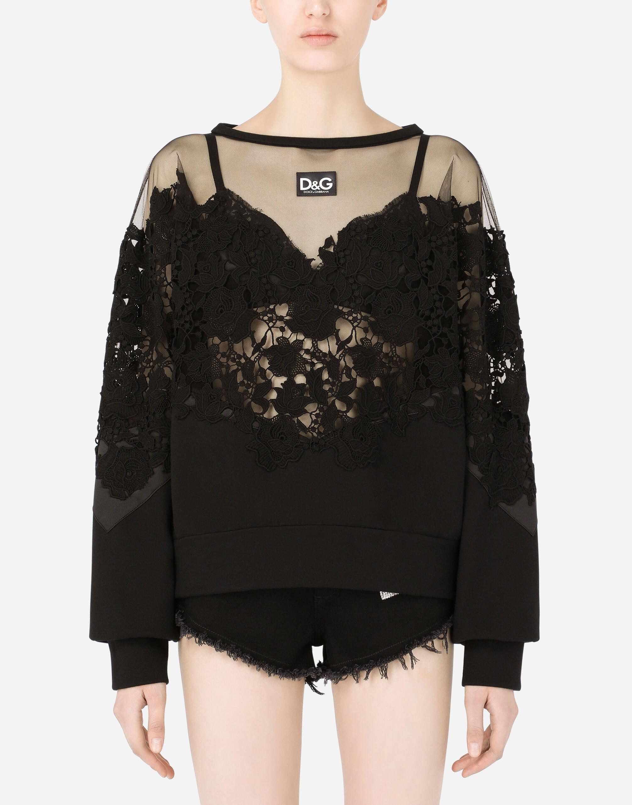 Jersey sweatshirt with tulle and macramé details