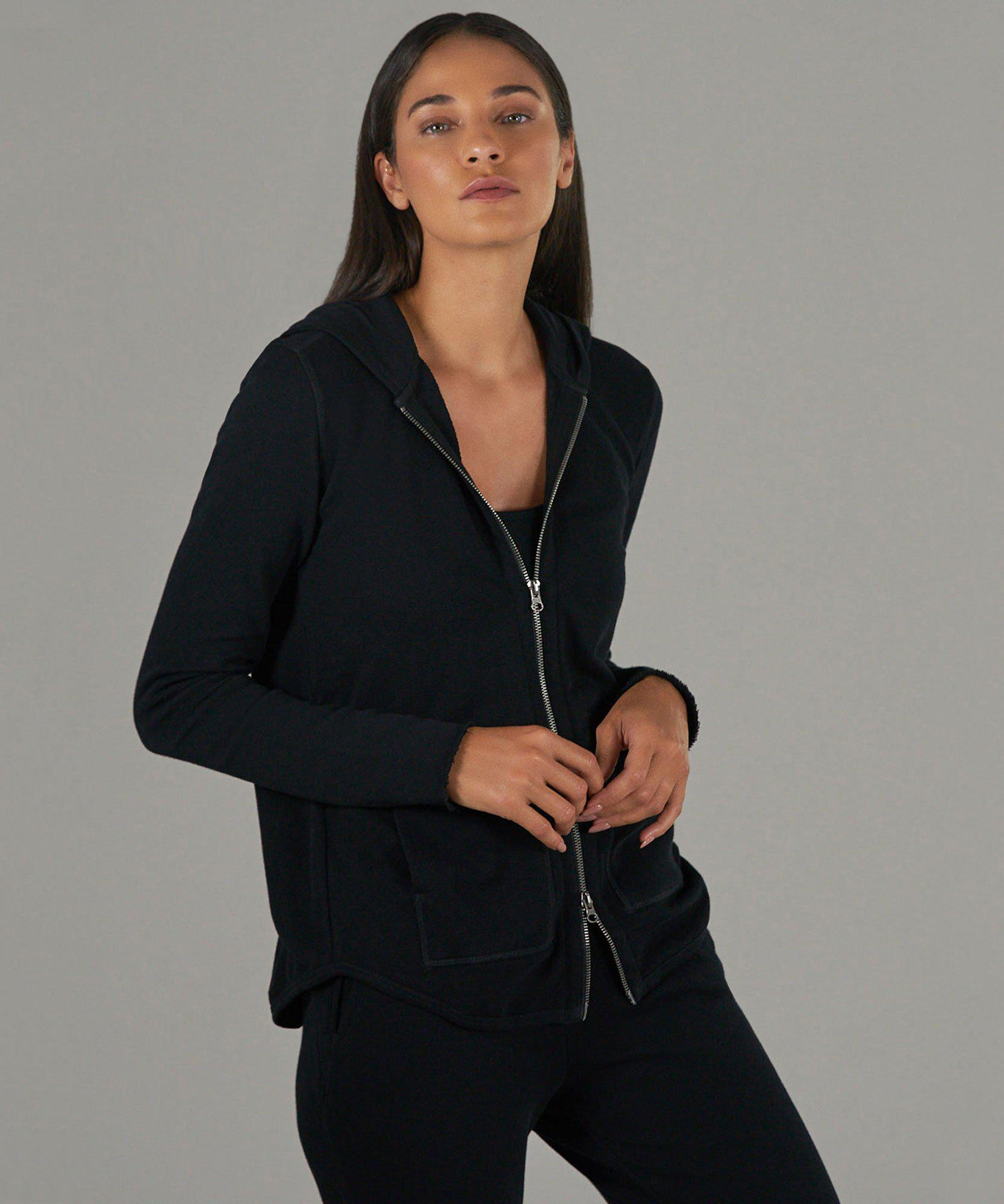 French Terry Zip-Up Hoodie - Black