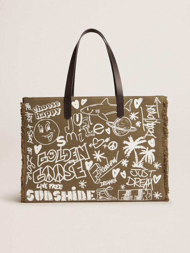 East-West California Bag in military green canvas with graffiti