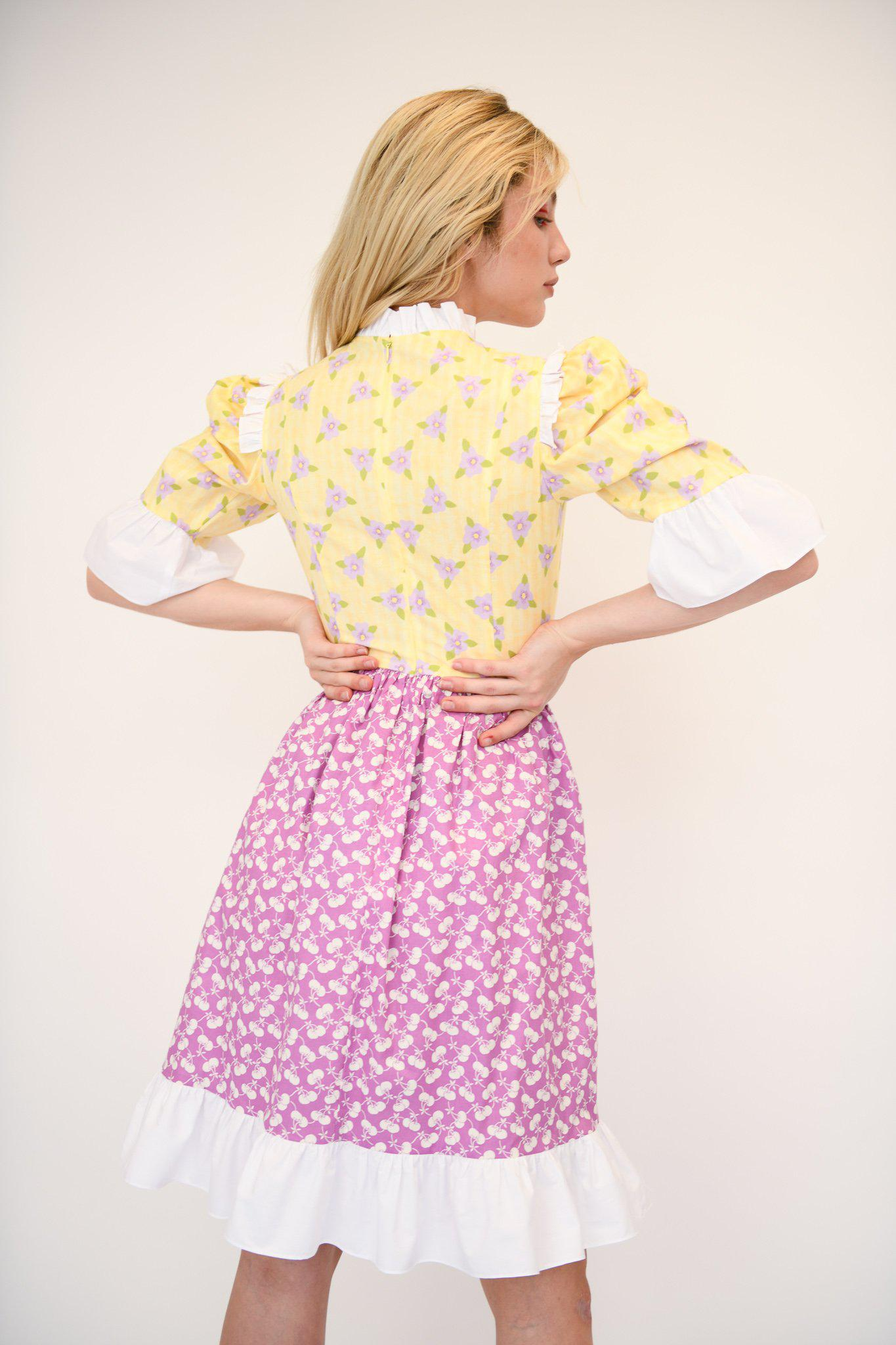 Spring Prairie Dress in Vintage Yellow and Purple Fabric 2