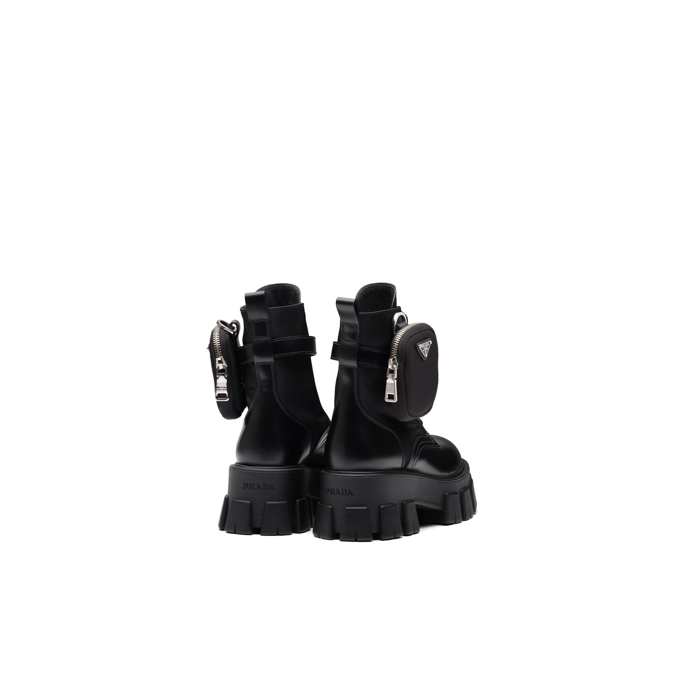 Brushed Rois Leather And Nylon Monolith Boots Women Black 3