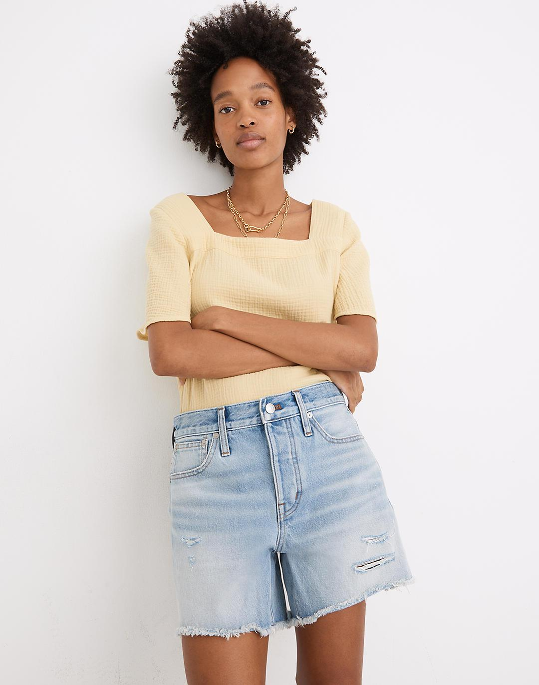 Relaxed Mid-Length Denim Shorts in Selton Wash: Ripped Edition