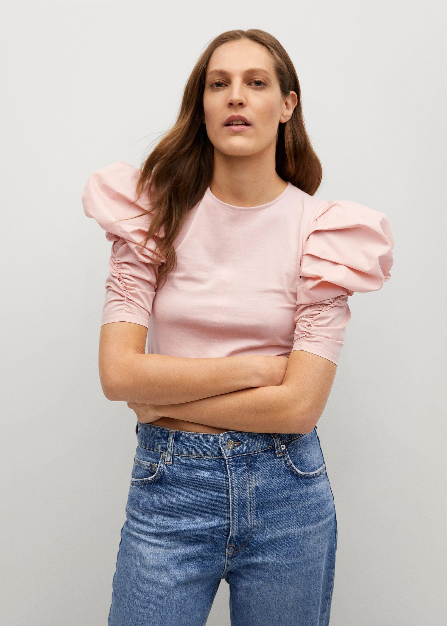 Cotton t-shirt with puffed sleeves