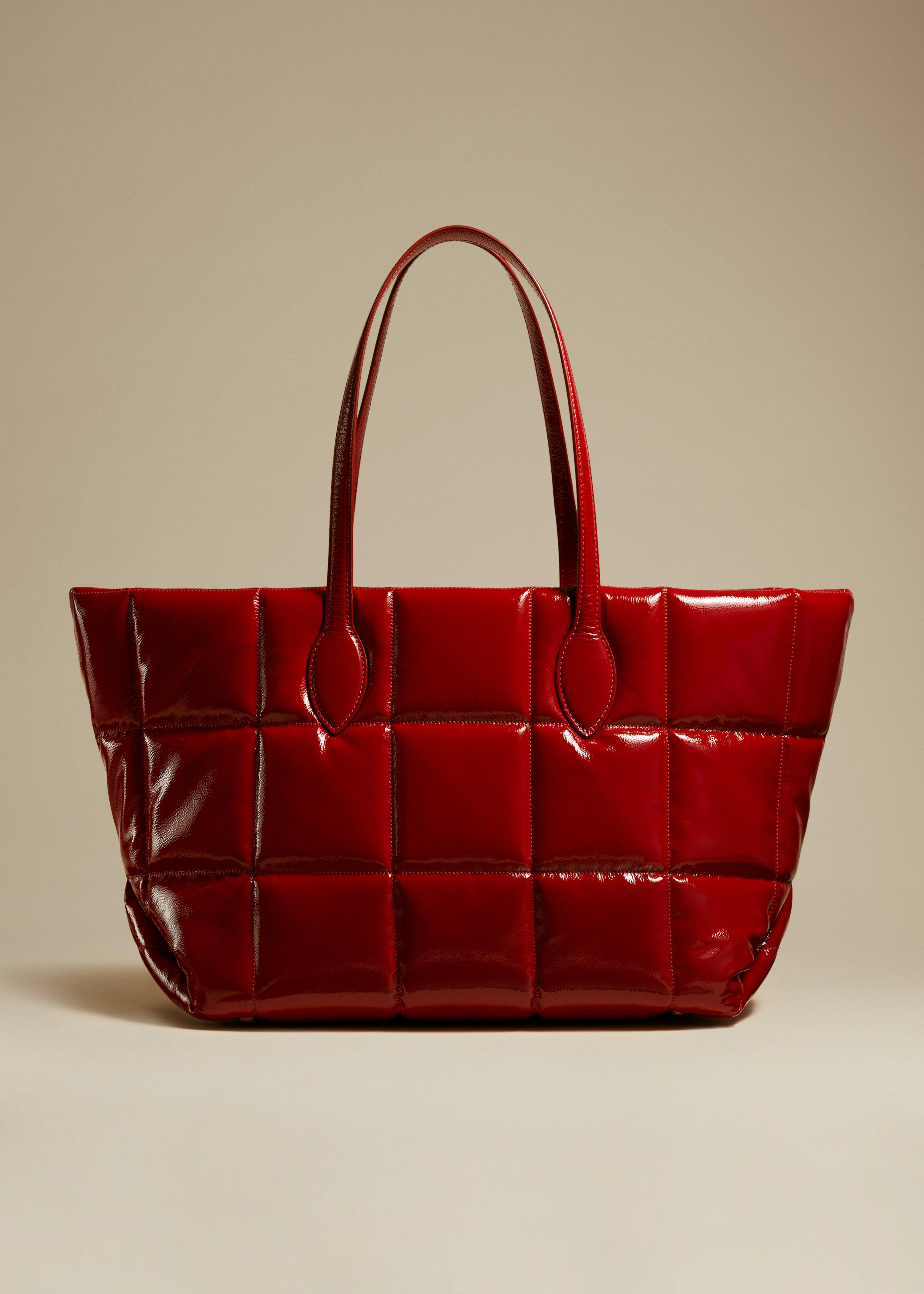 The Florence Quilted Tote in Fire Red Patent Leather