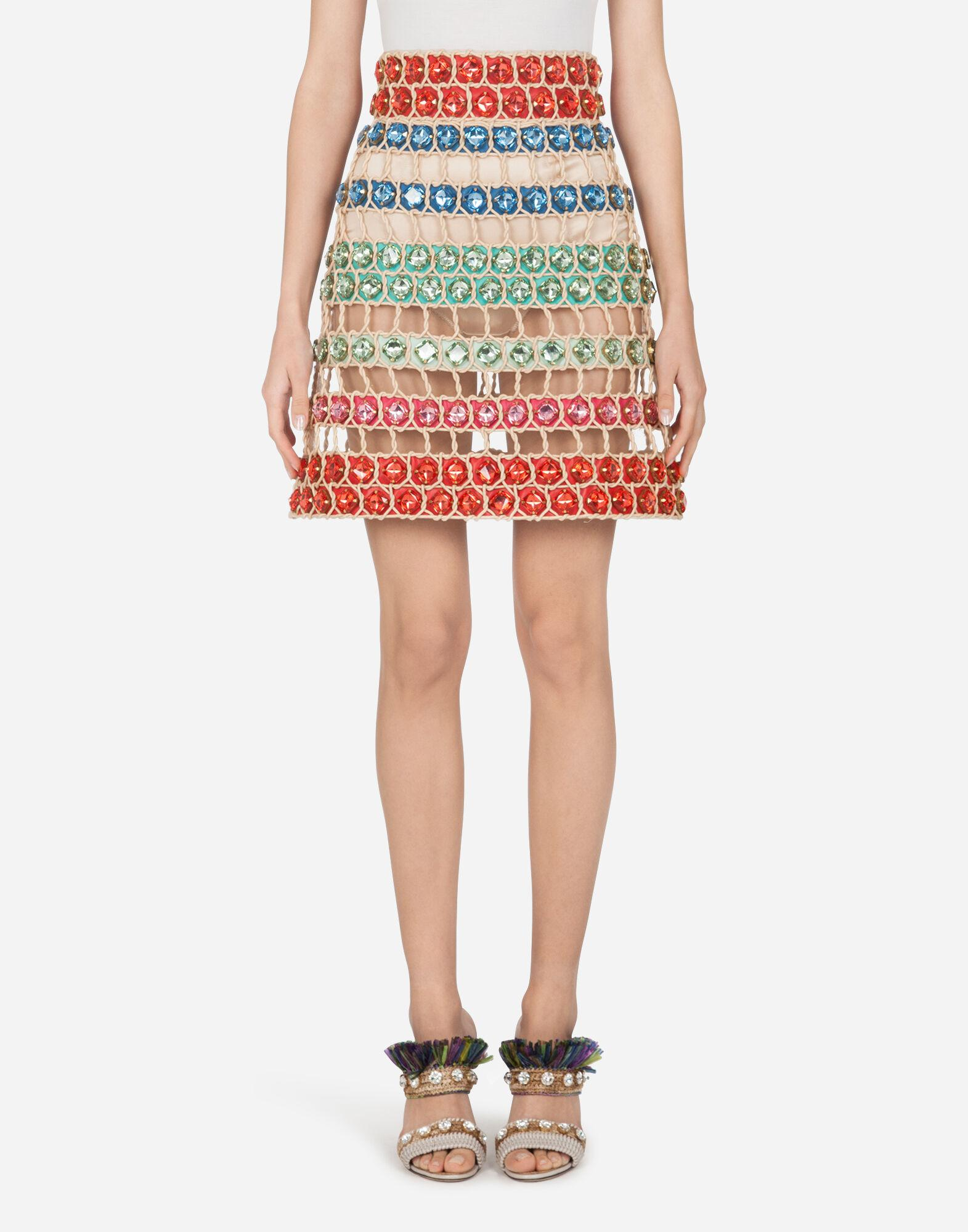 Short a-line skirt made of rope and stones