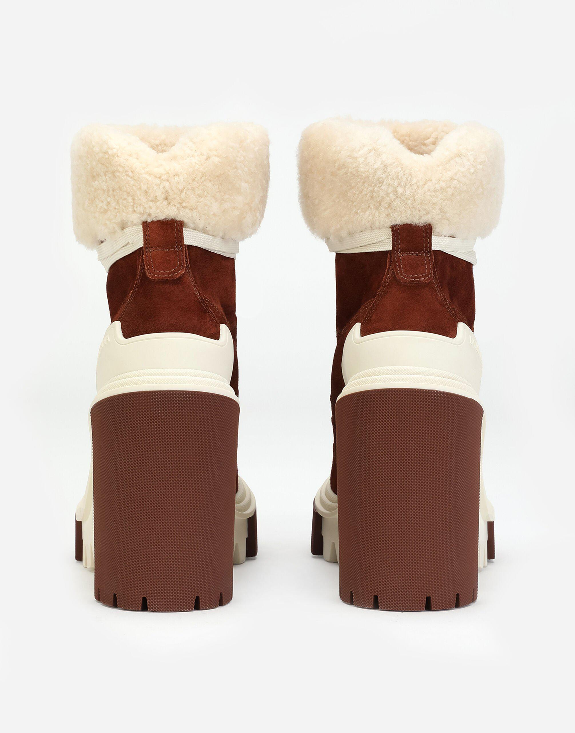 Split-grain leather trekking boots with shearling 2