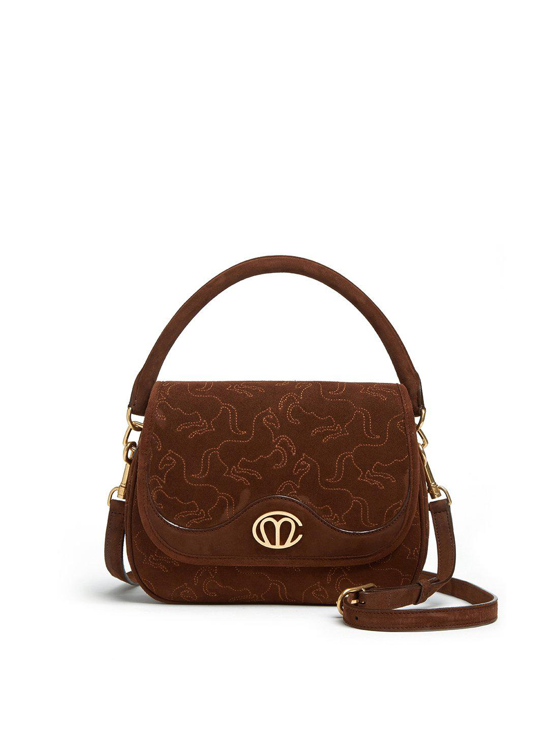 Christy Small Embroidered Suede Top Handle Bag