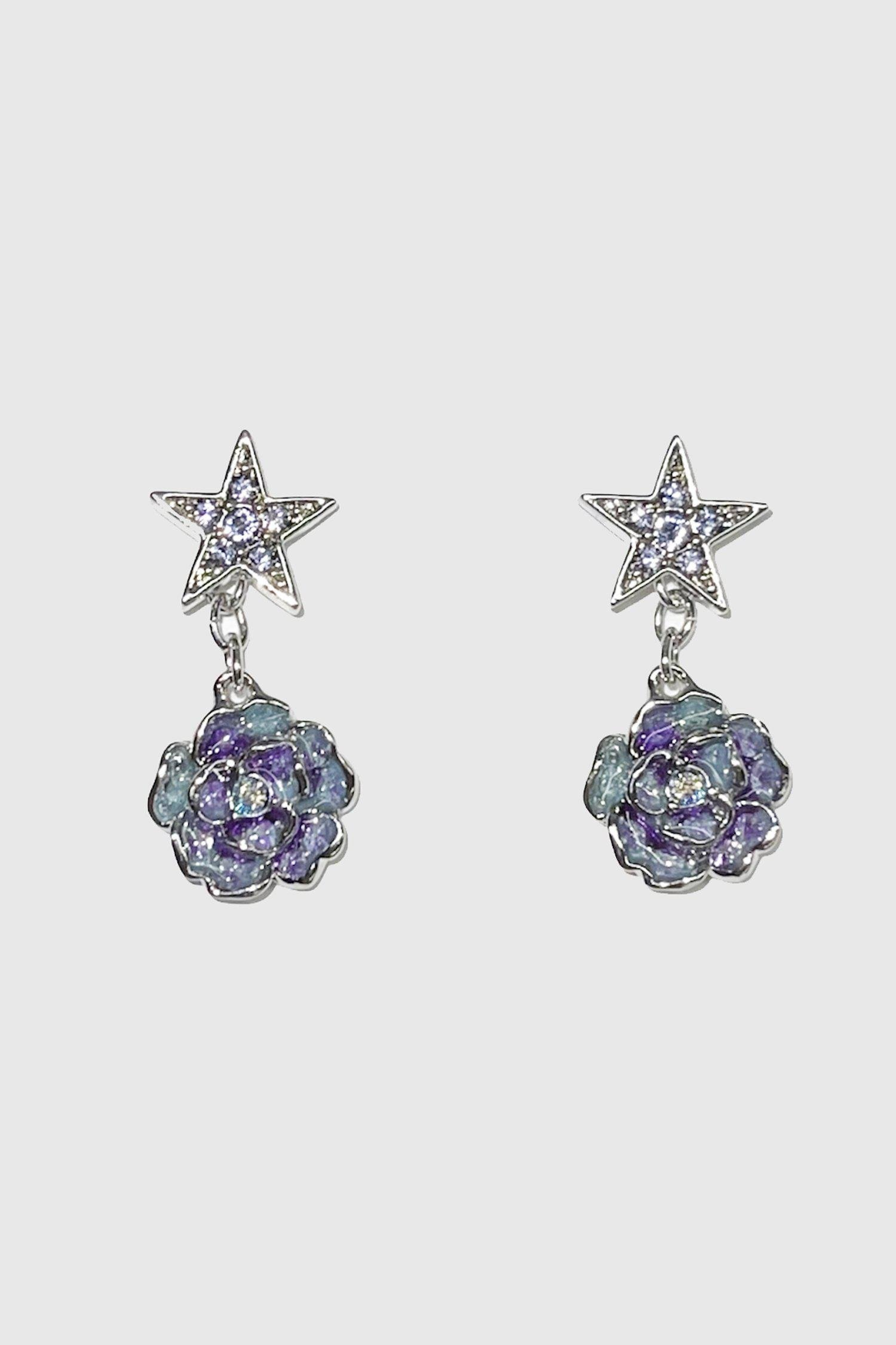 Silver Rose and Star Earrings