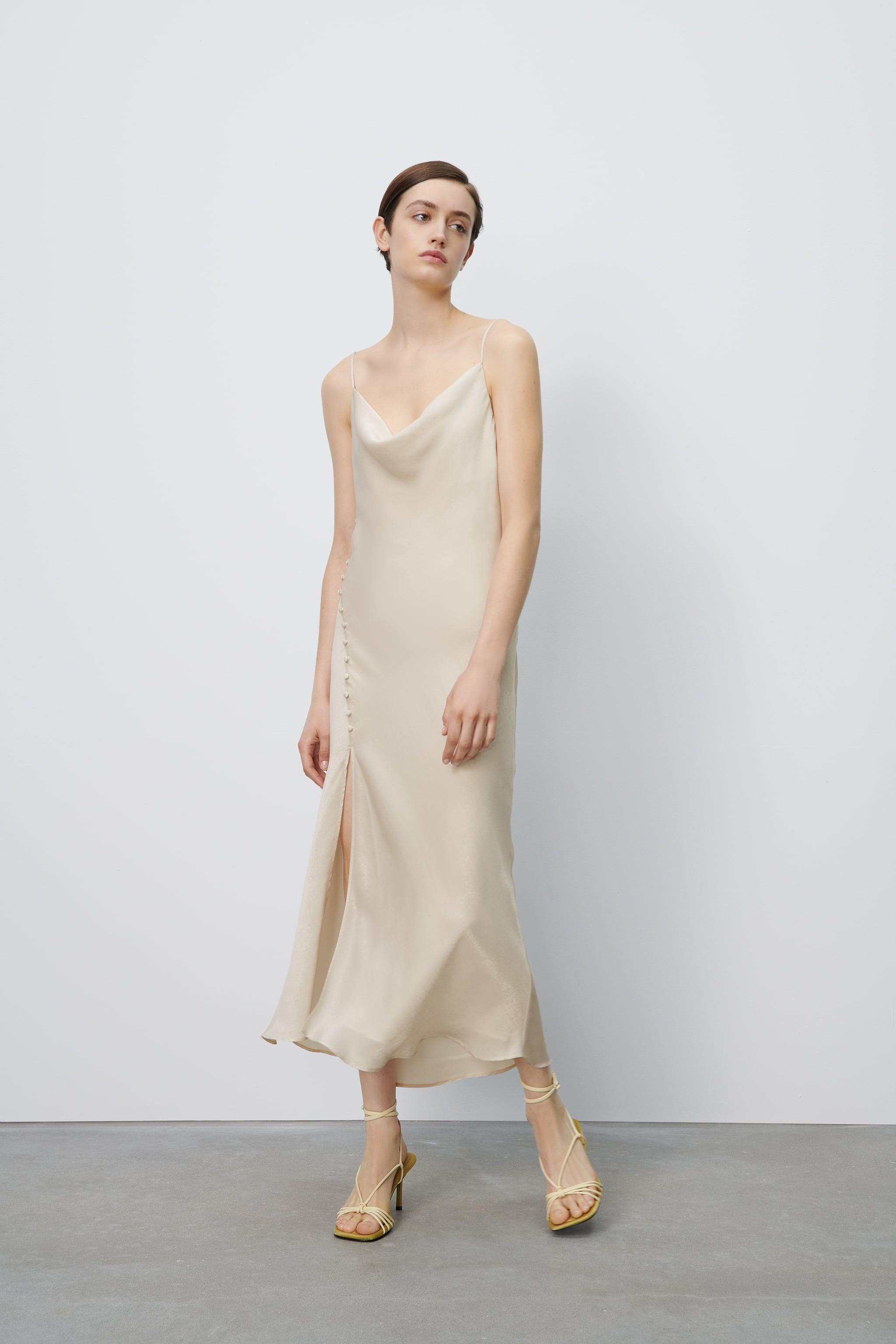 SLIP DRESS WITH BUTTONED SIDE