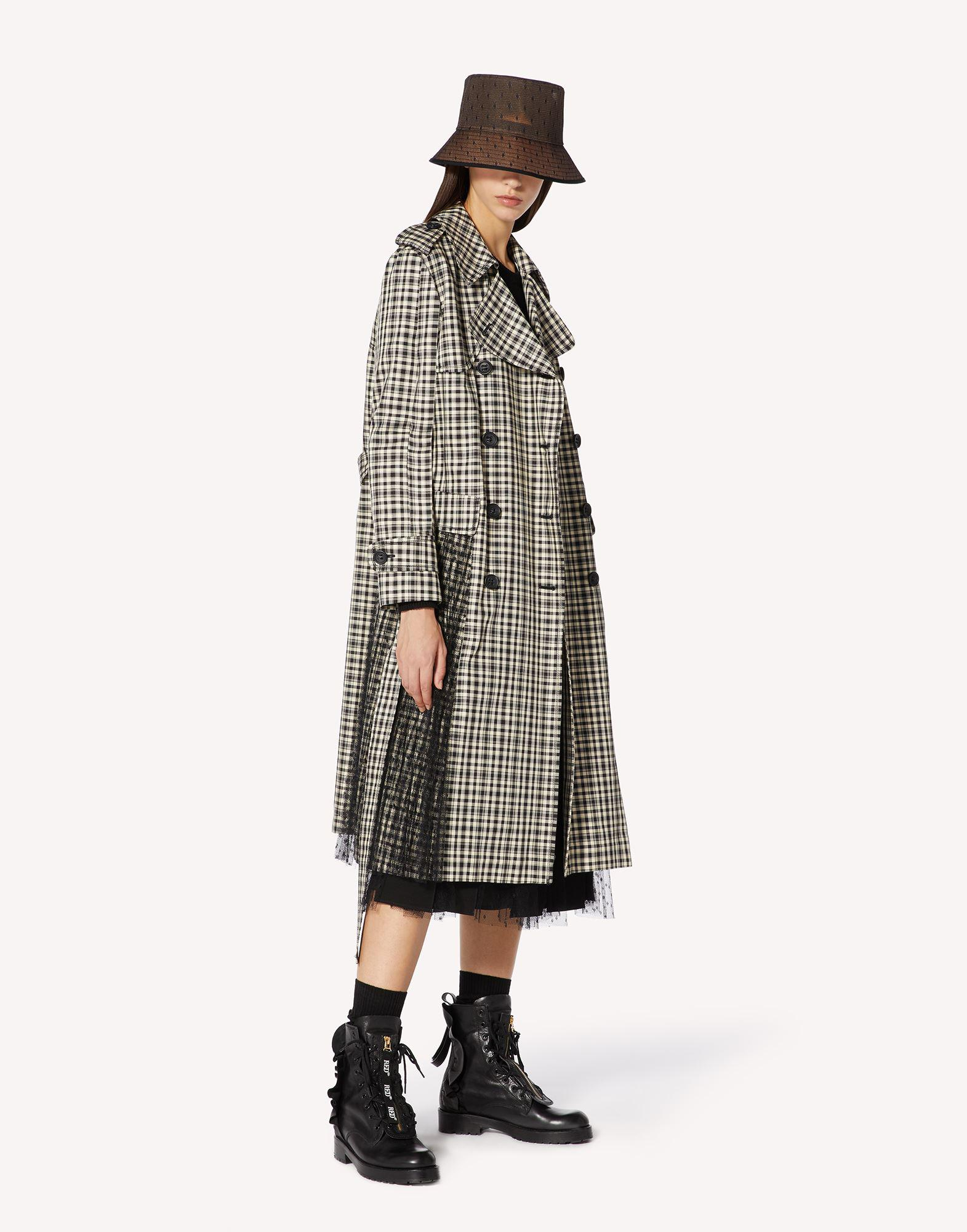 VICHY CHECK TRENCH COAT WITH PLEATING DETAIL 2