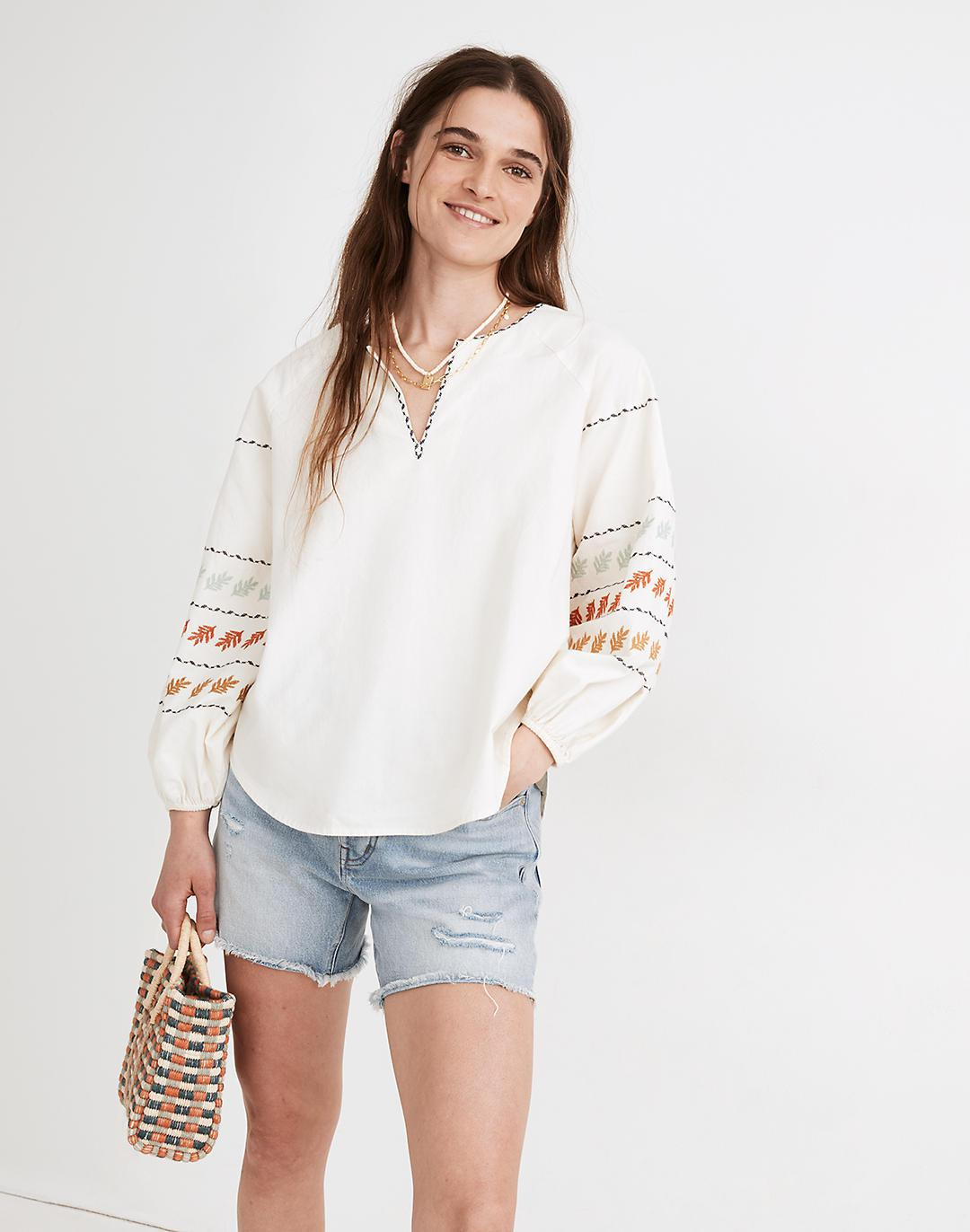 Embroidered-Sleeve Popover Top