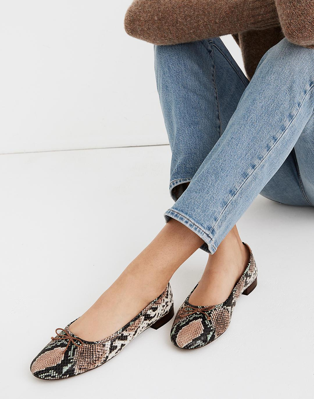 The Adelle Ballet Flat in Snake Embossed Leather 3