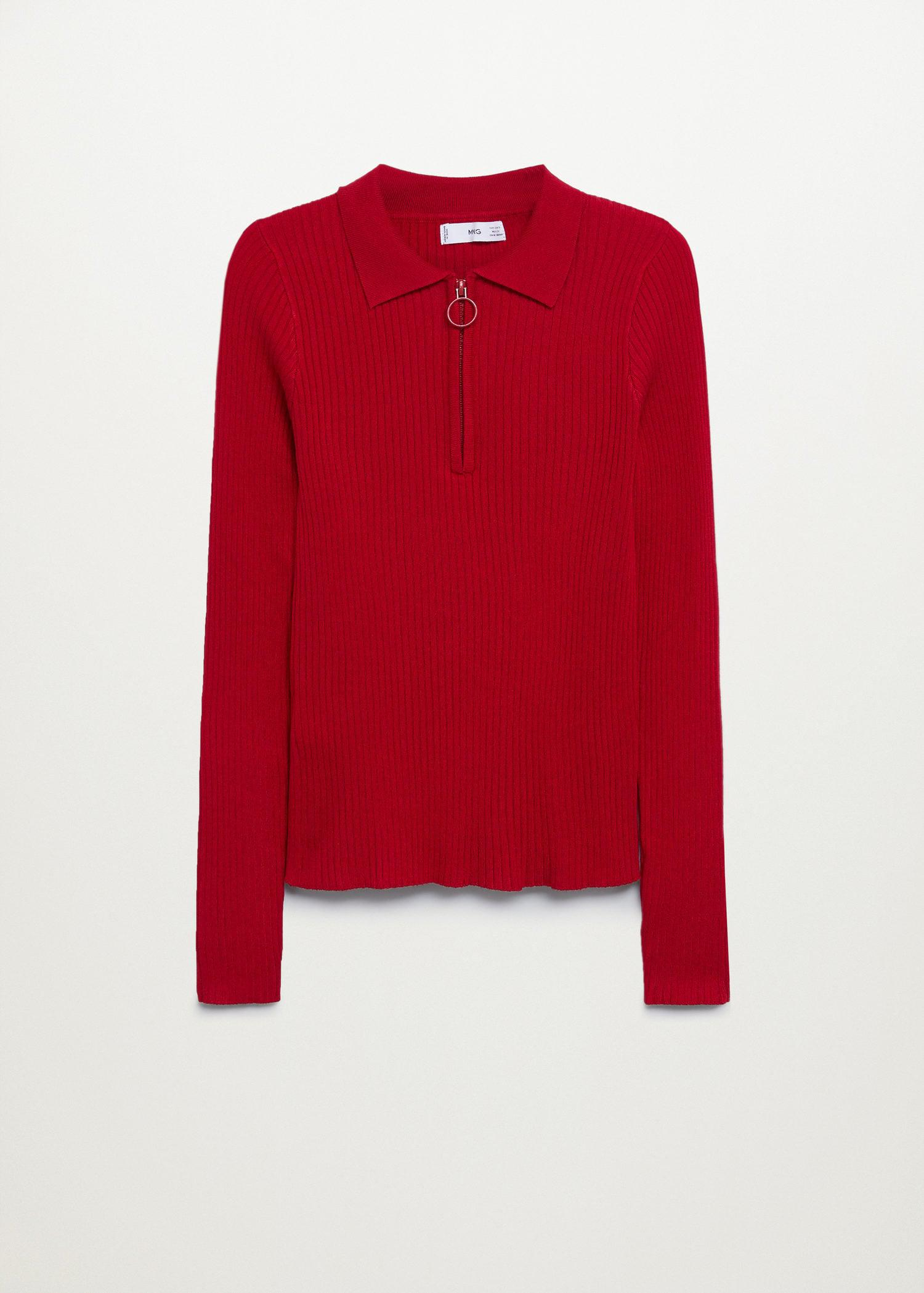 Ribbed sweater with zipper 7